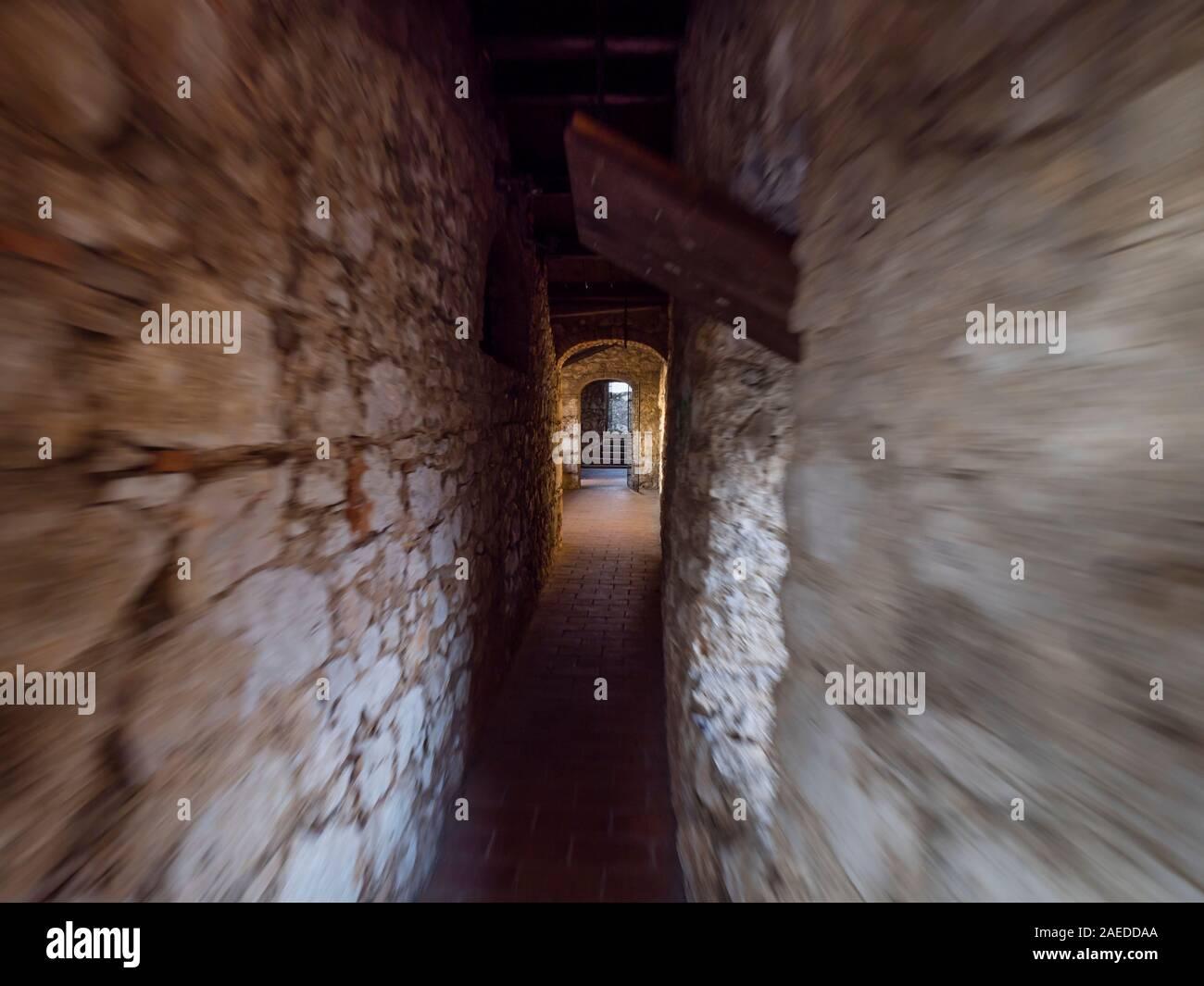Running through narrow corridor medieval fort Trsat in Rijeka Croatia Europe Stock Photo