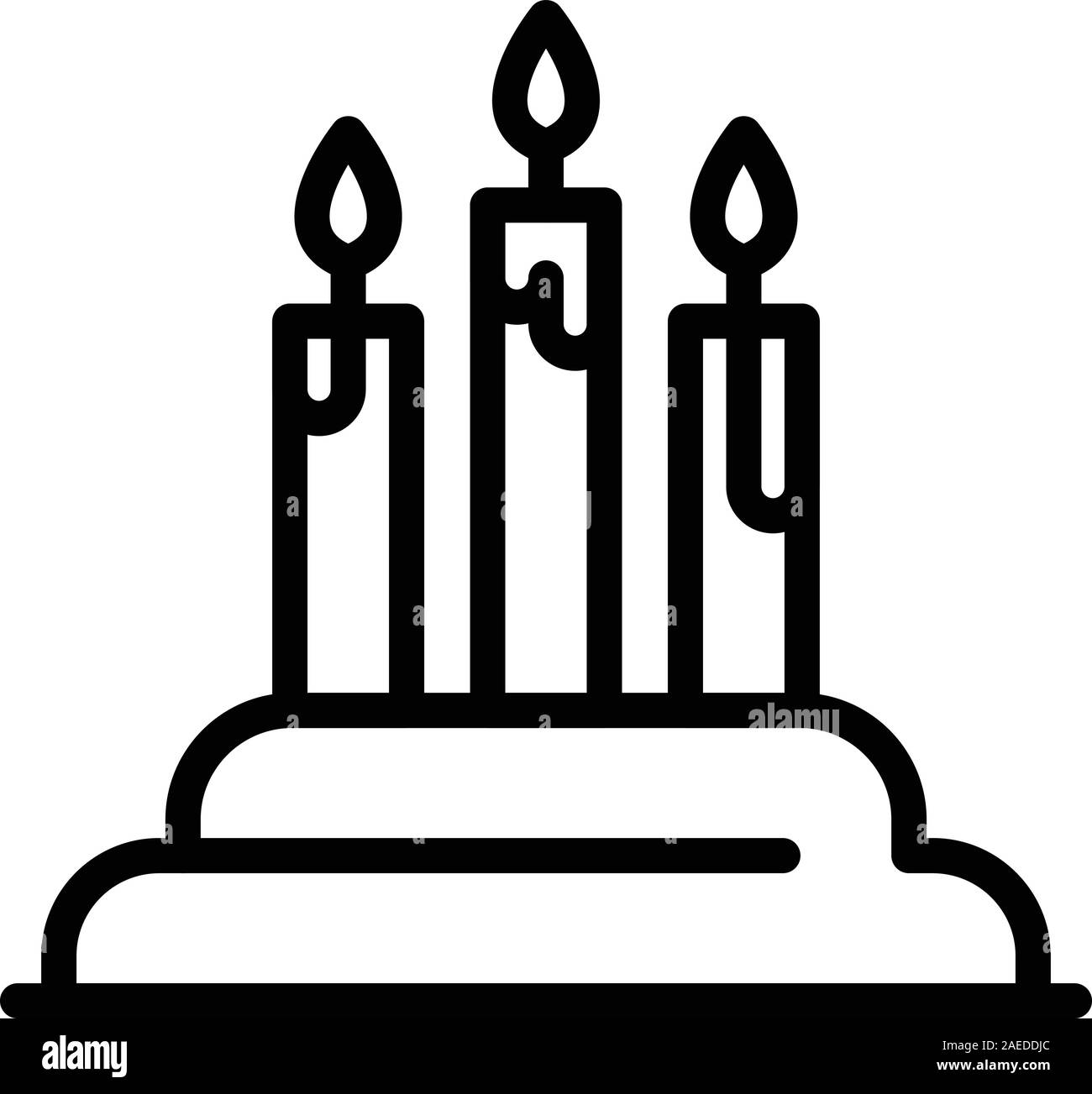 Enjoyable Birthday Cake With Candles Icon Outline Style Stock Vector Art Birthday Cards Printable Trancafe Filternl