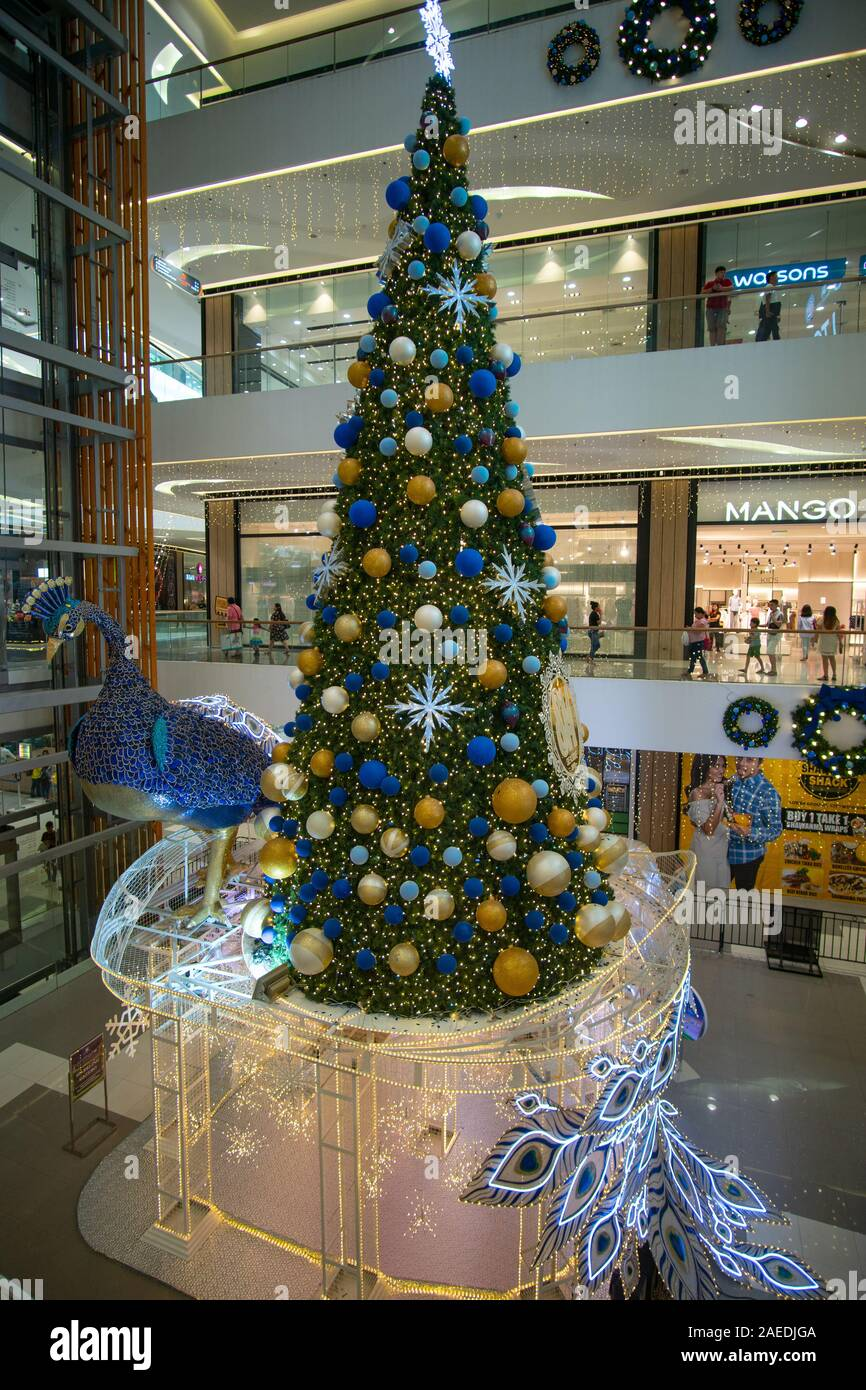 A Christmas Tree Incorporating A Spectacular Peacock Bird Sm Seaside Shopping Mall Cebu City Philippines Stock Photo Alamy