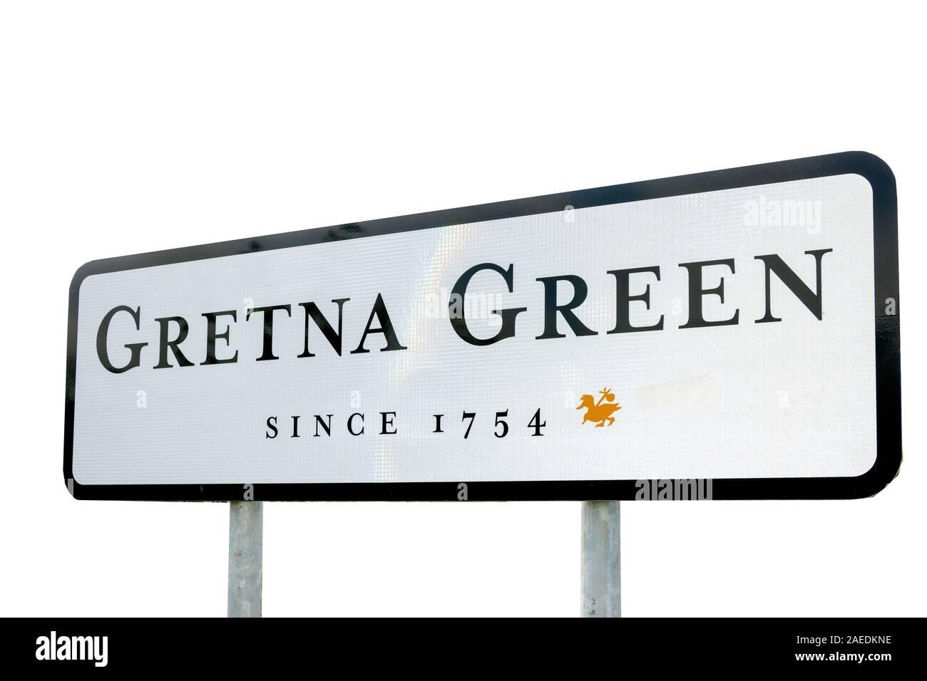 Entrance sign, Gretna Green, Gretna, Dumfries and Galloway, Scotland, United Kingdom Stock Photo