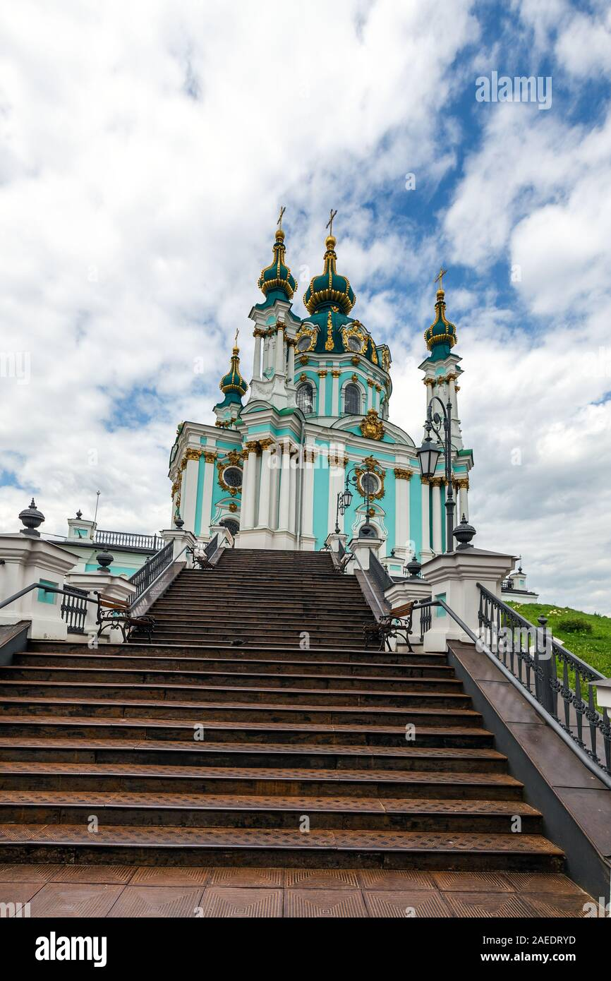 View of Saint Andrew's church and Andreevska street from above, cityscape of Podol district, city of Kiev (Kyiv), Ukraine. Stock Photo