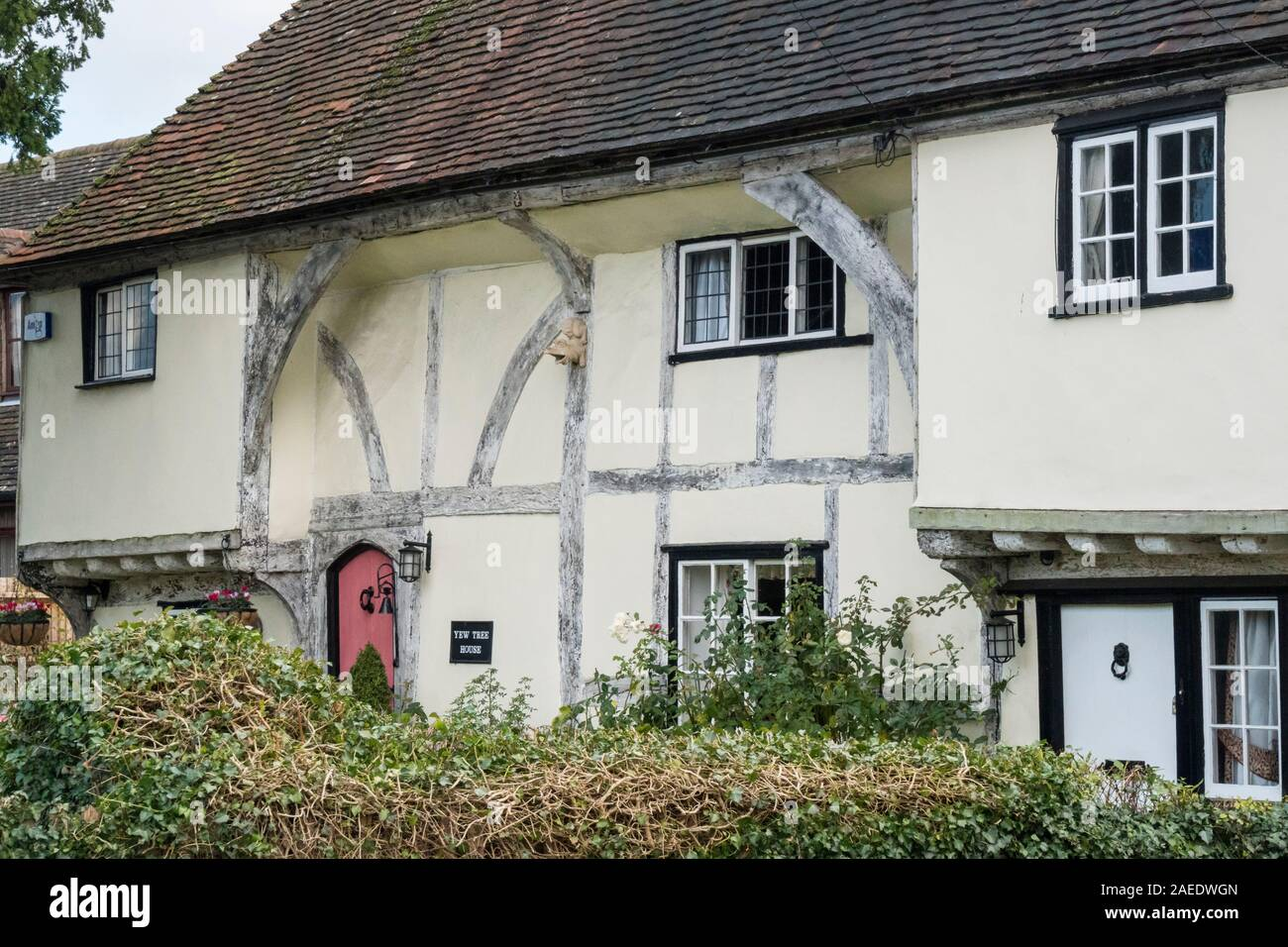 An ancient timber framed cottage in the village of Weavering, Kent, UK Stock Photo