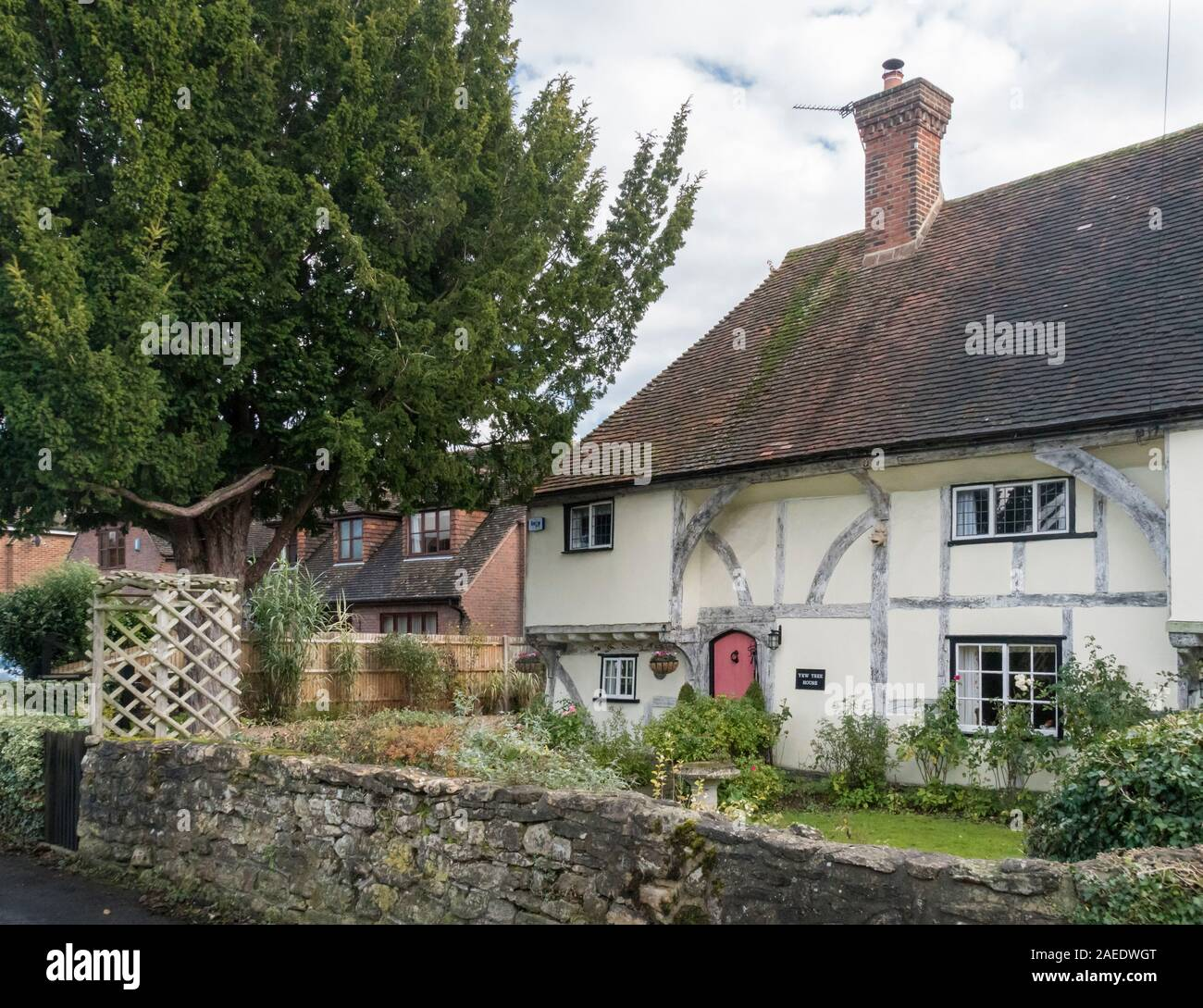 An ancient timber framed cottage and garden in the village of Weavering, Kent, UK Stock Photo