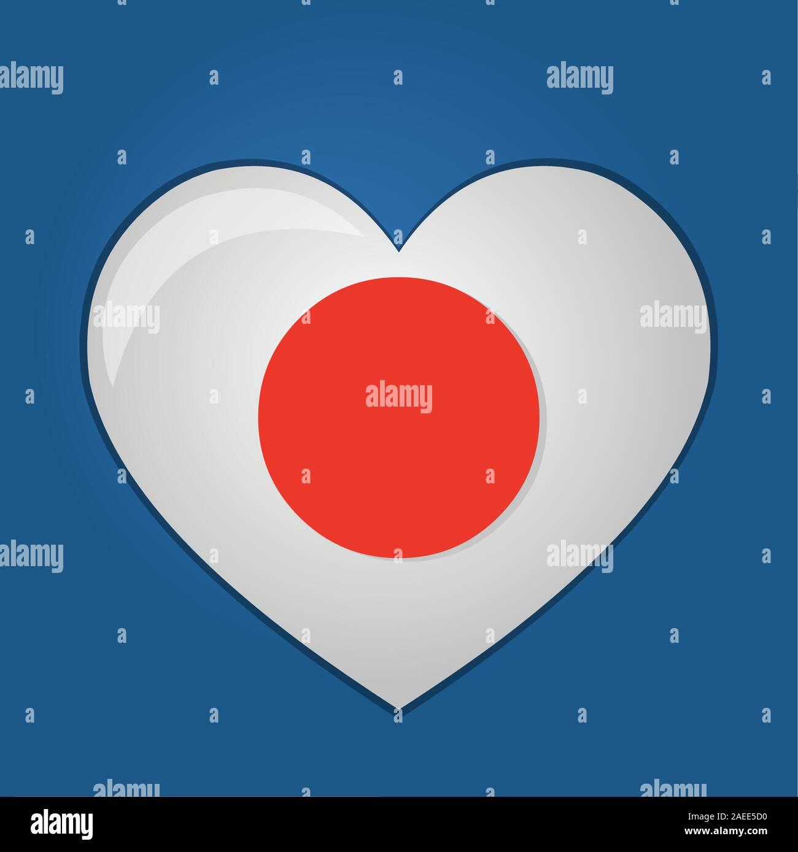 heart with japan flag inside vector symbol illustration Stock Vector