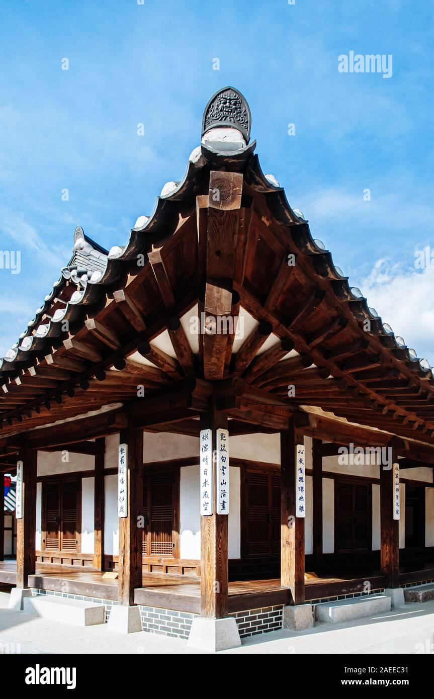 DEC 16, 2016 Seoul, South Korea - Traditional Hanok style Korean House. Wooden Korean house roof structure at Namsan Hanok village Stock Photo