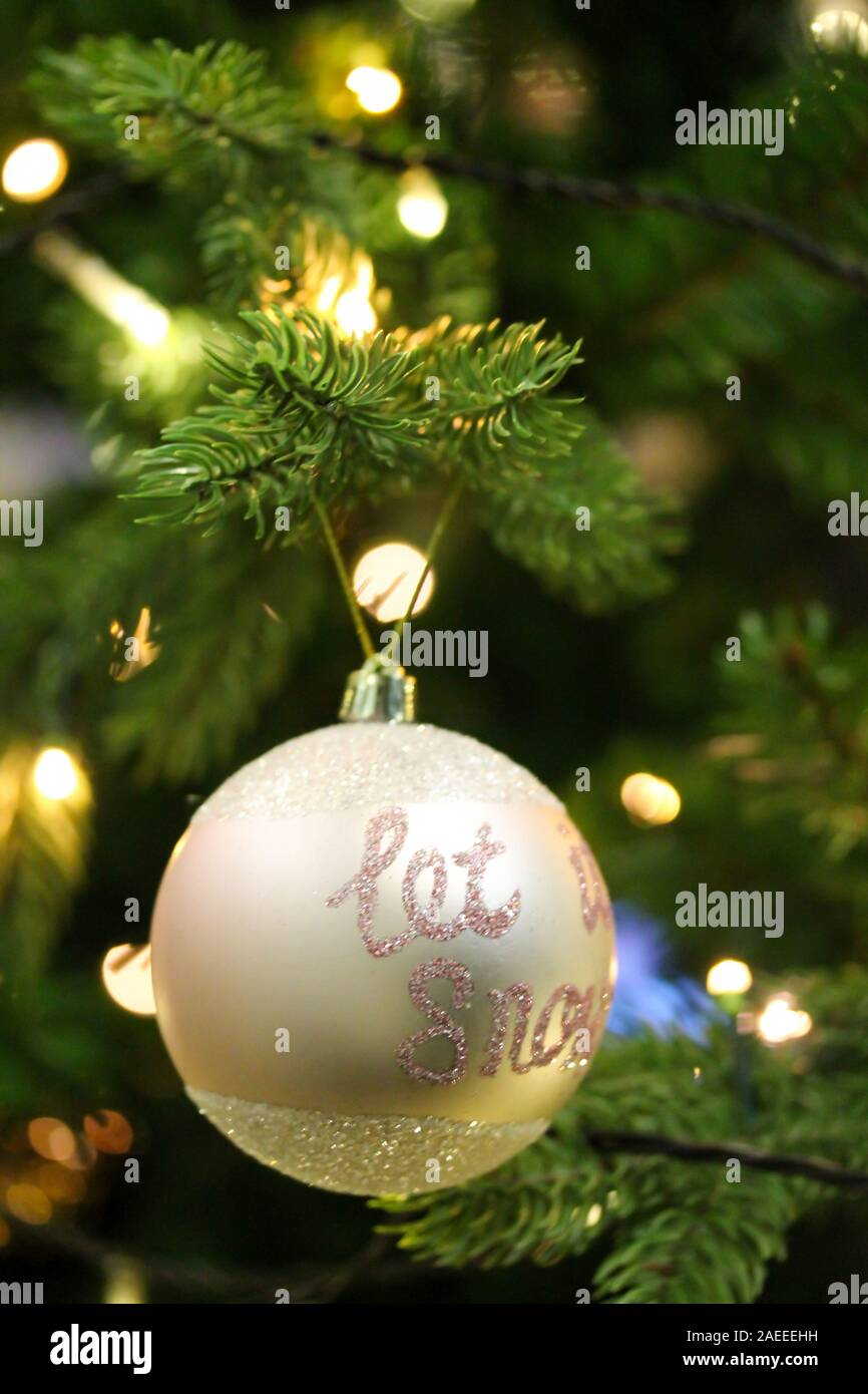Christmas Tree Decorated With Pink Baubles Let It Snow Glittering Text Artificial Fir Tree With Led Light Garland Festive Holiday Vertical Backgrou Stock Photo Alamy