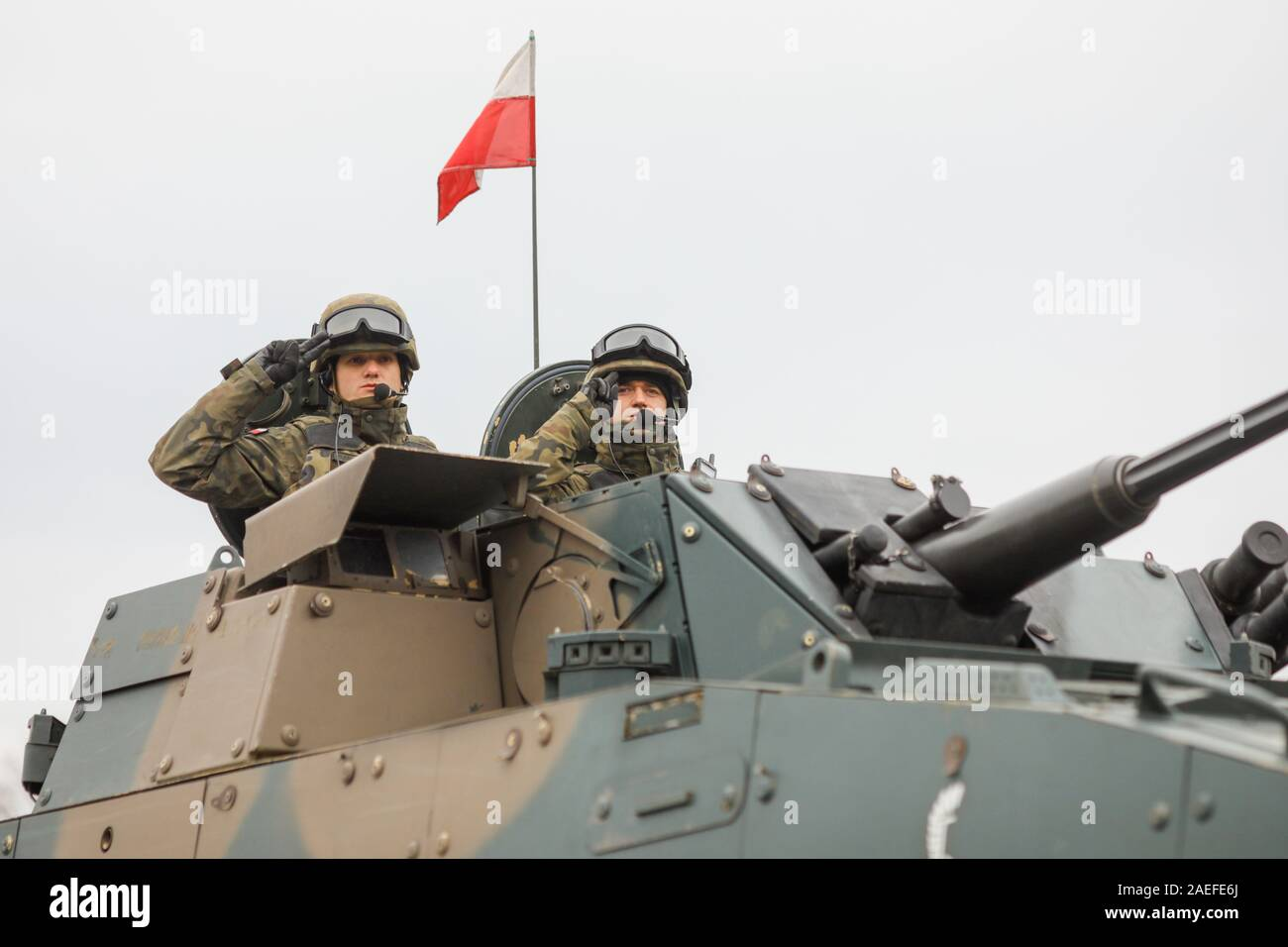 BUCHAREST, ROMANIA - December 1, 2019: Polish soldiers in a ROSOMAK armored vehicle at the Romanian National Day military parade. Stock Photo