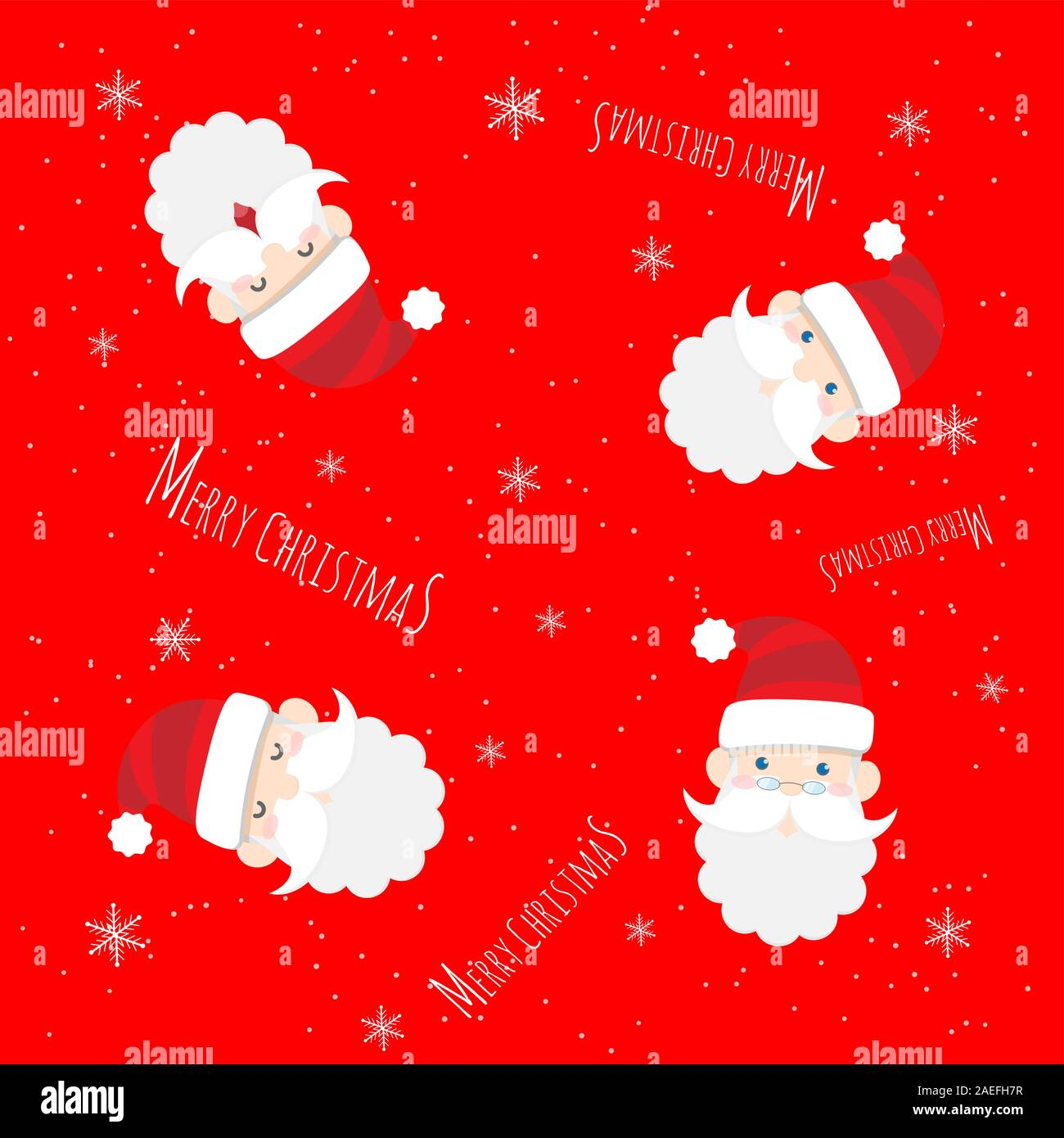 vector cute santa claus cartoon with text merry christmas pattern on red background for christmas wallpaper background 2AEFH7R