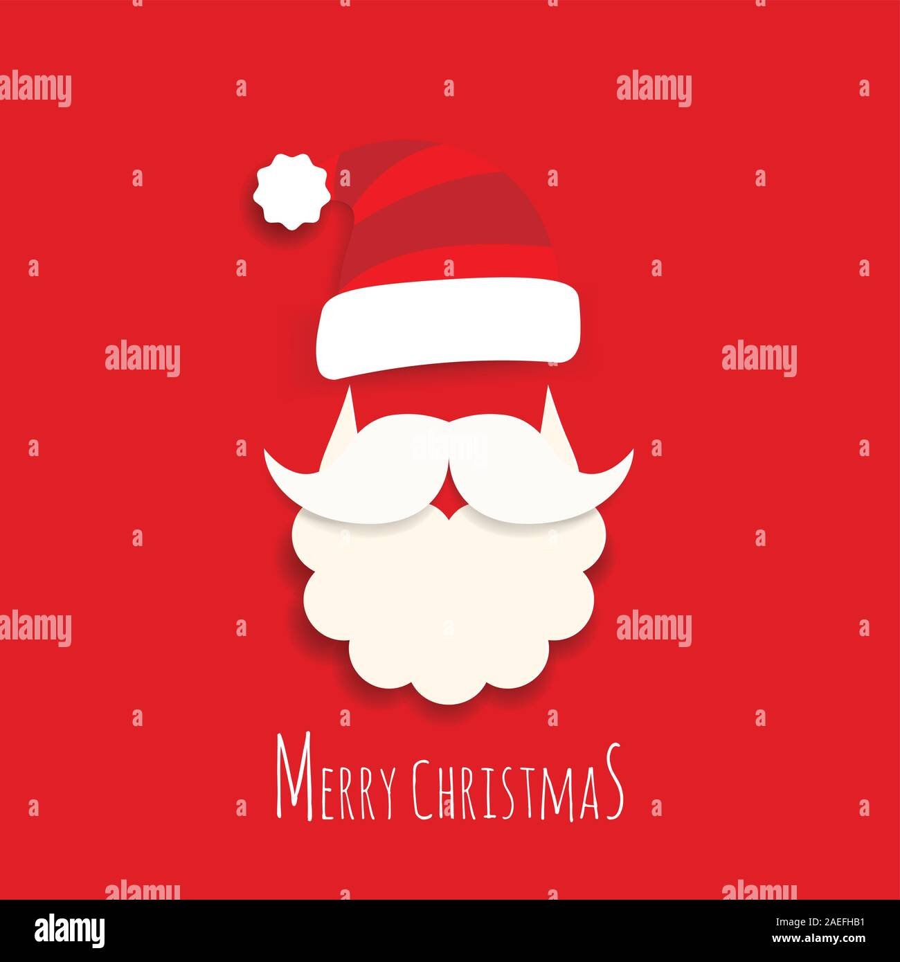 vector cute santa claus cartoon with text merry christmas on red background for christmas wallpaper background 2AEFHB1