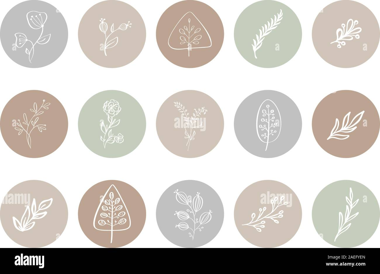 Highlight Cover Icon Highlight Story Natural Hand Drawn Floral Logo Logo Template For Photographer Fashion Blogger Yoga Studio Monoline Style Stock Vector Image Art Alamy