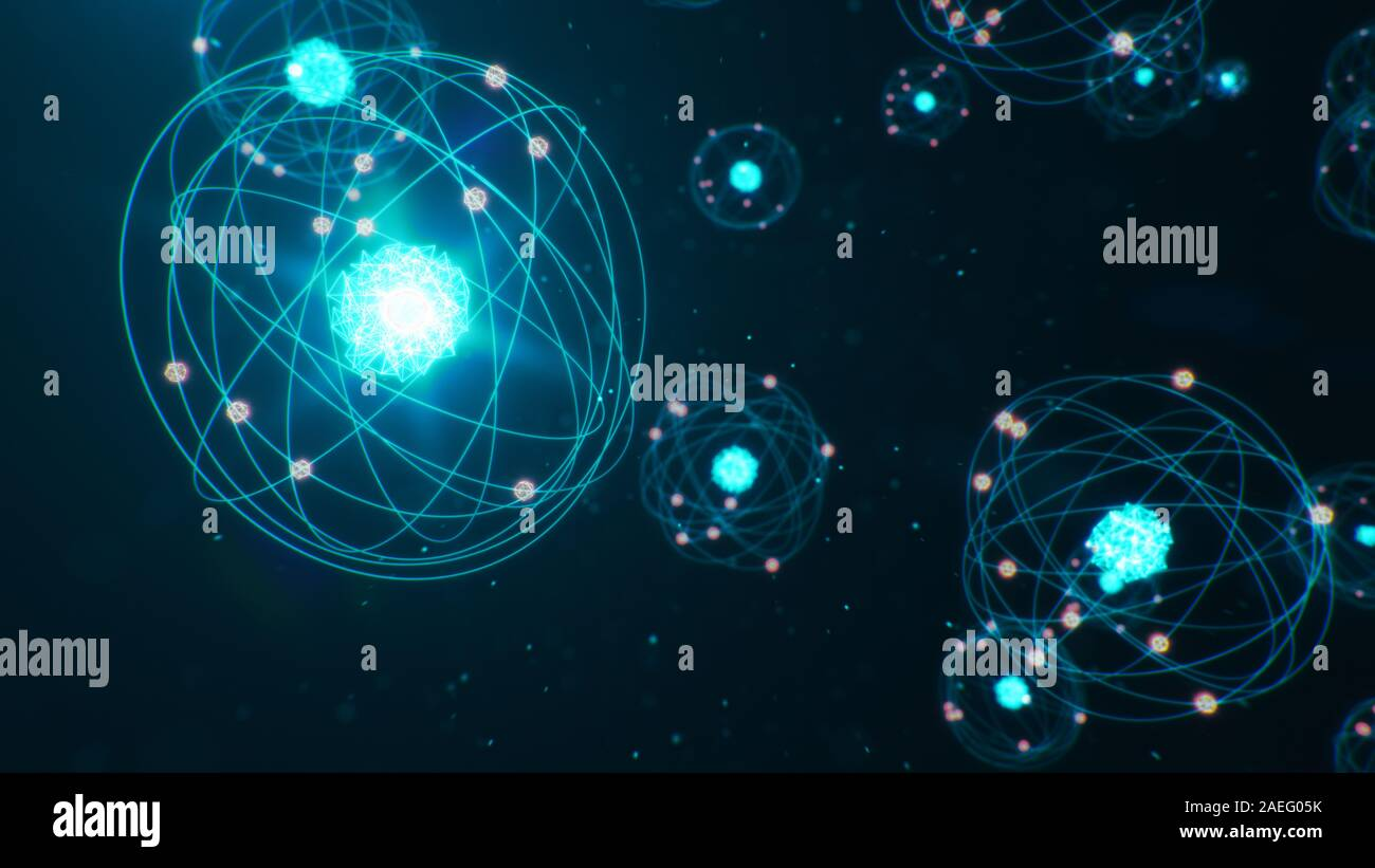 3D Illustration Atomic structure. Atom is the smallest level of matter that forms chemical elements. Glowing energy balls. Nuclear reaction. Concept Stock Photo