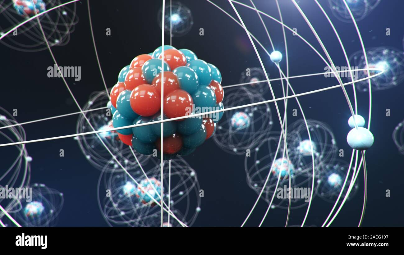 Abstract atom model. Atom is the smallest level of matter that forms chemical elements. Glowing energy balls. Nuclear reaction. Concept nanotechnology Stock Photo