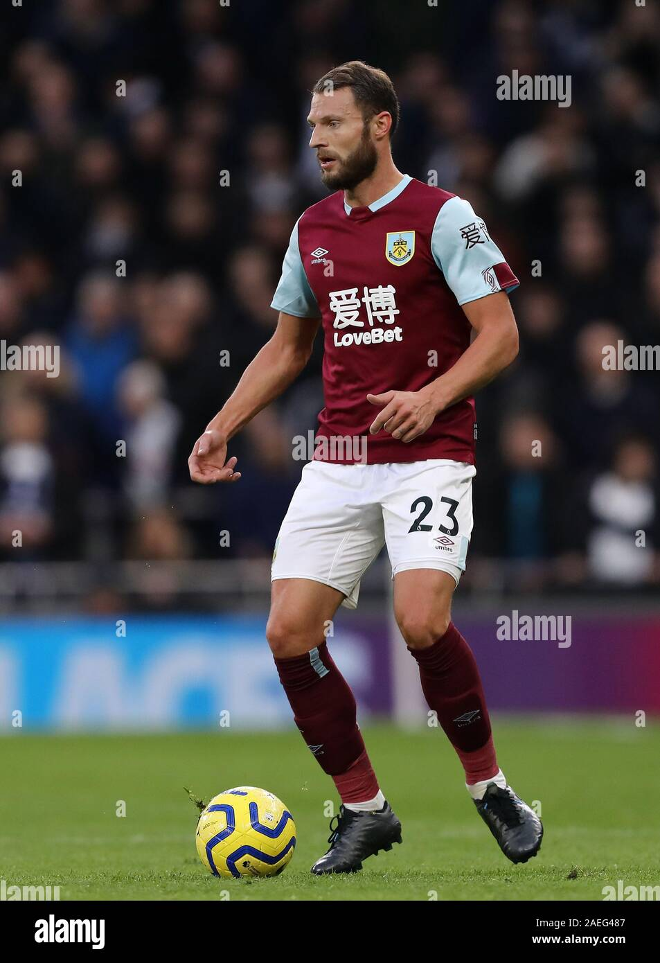 Erik Pieters of Burnley - Tottenham Hotspur v Burnley, Premier League, Tottenham Hotspur Stadium, London, UK - 7th December 2019  Editorial Use Only - DataCo restrictions apply Stock Photo