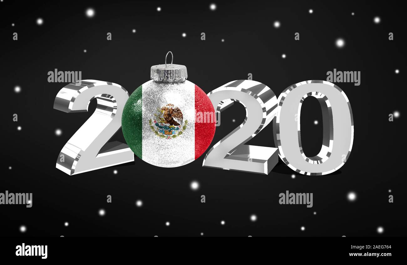Mexico Christmas 2020 Happy new Year 2020, flag of Mexico on a christmas toy