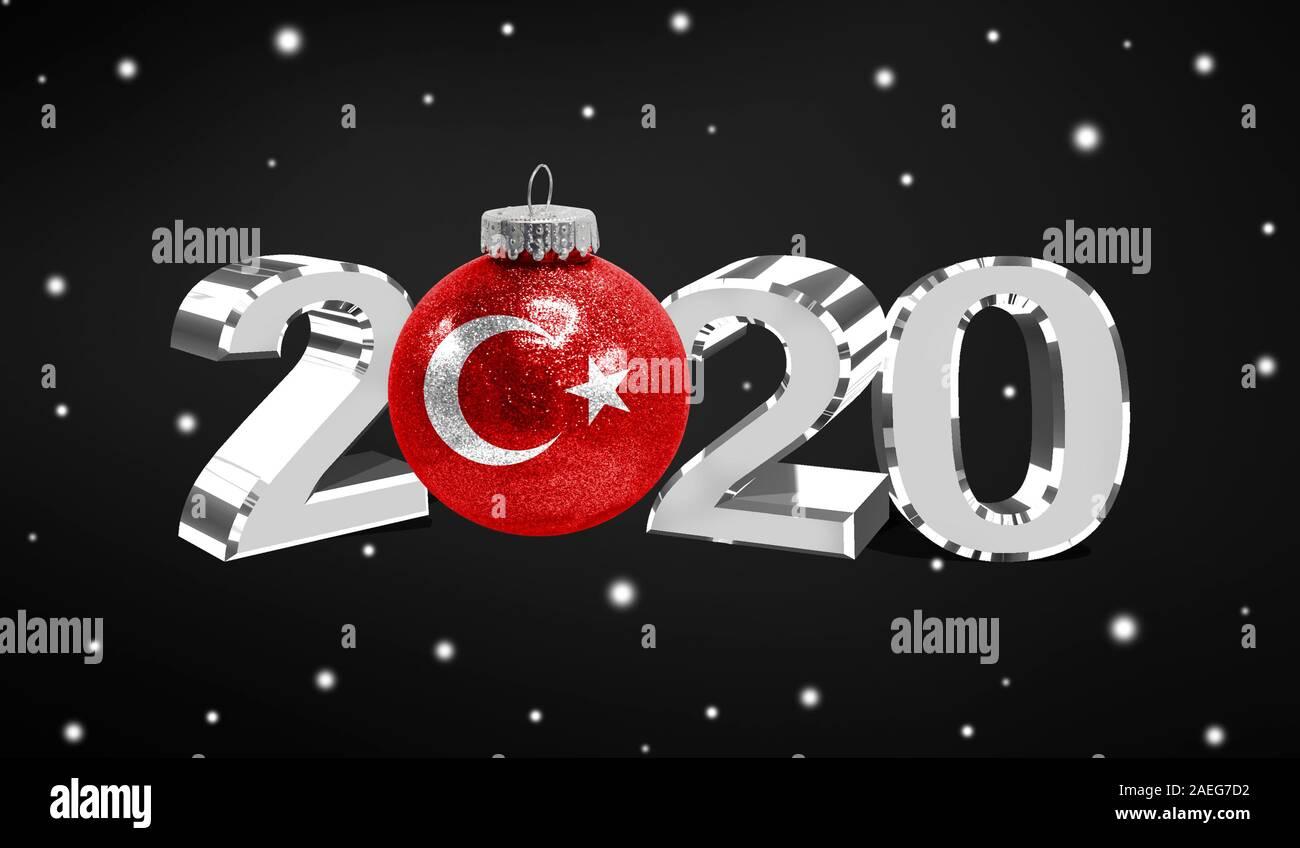 Christmas Turkey 2020 Happy new Year 2020, flag of Turkey on a christmas toy
