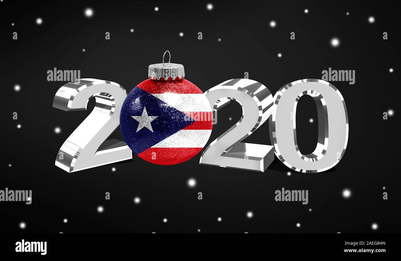 Puerto Rico Christmas 2020 Happy new Year 2020, flag of Puerto Rico on a christmas toy