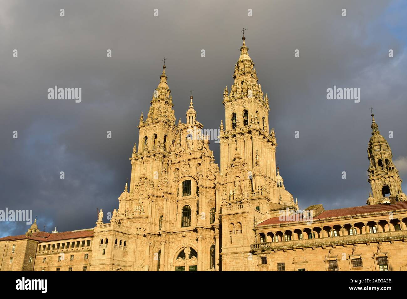 Cathedral with sunset light on a rainy day. View from Praza do Obradoiro. Santiago de Compostela, Spain. Stock Photo