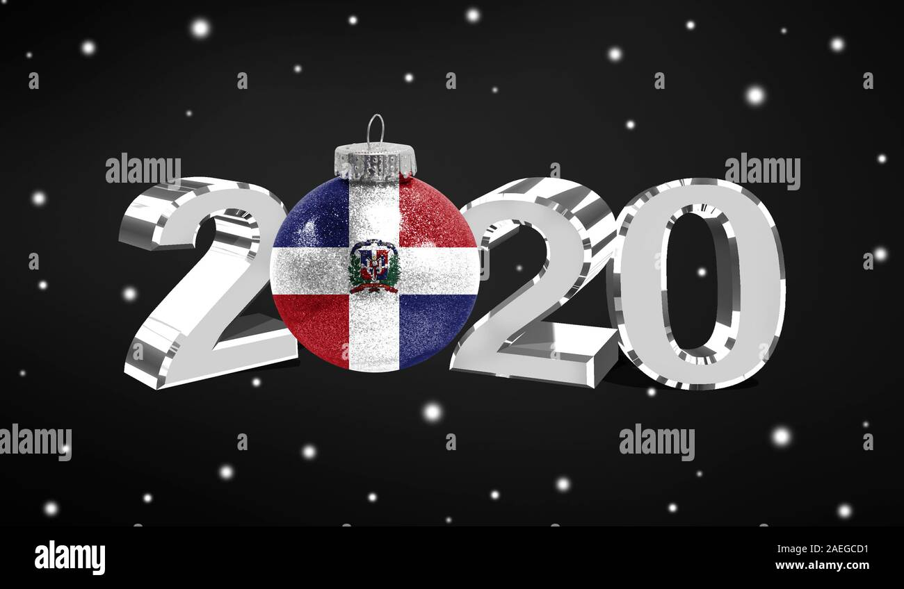 Dominican Republic Christmas 2020 Happy new Year 2020, flag of Dominican Republic on a christmas toy