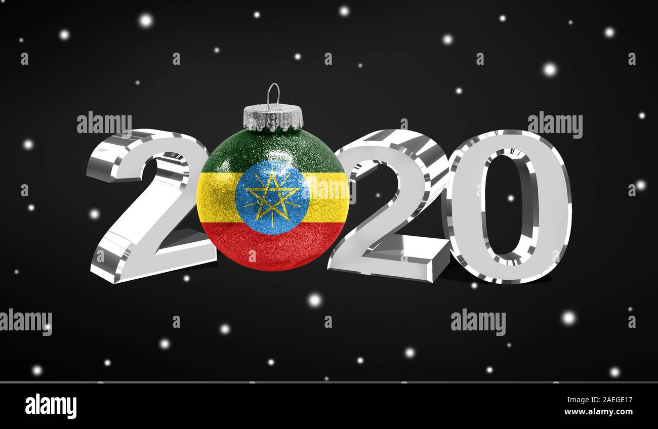 Happy new Year 2020, flag of Ethiopia on a christmas toy