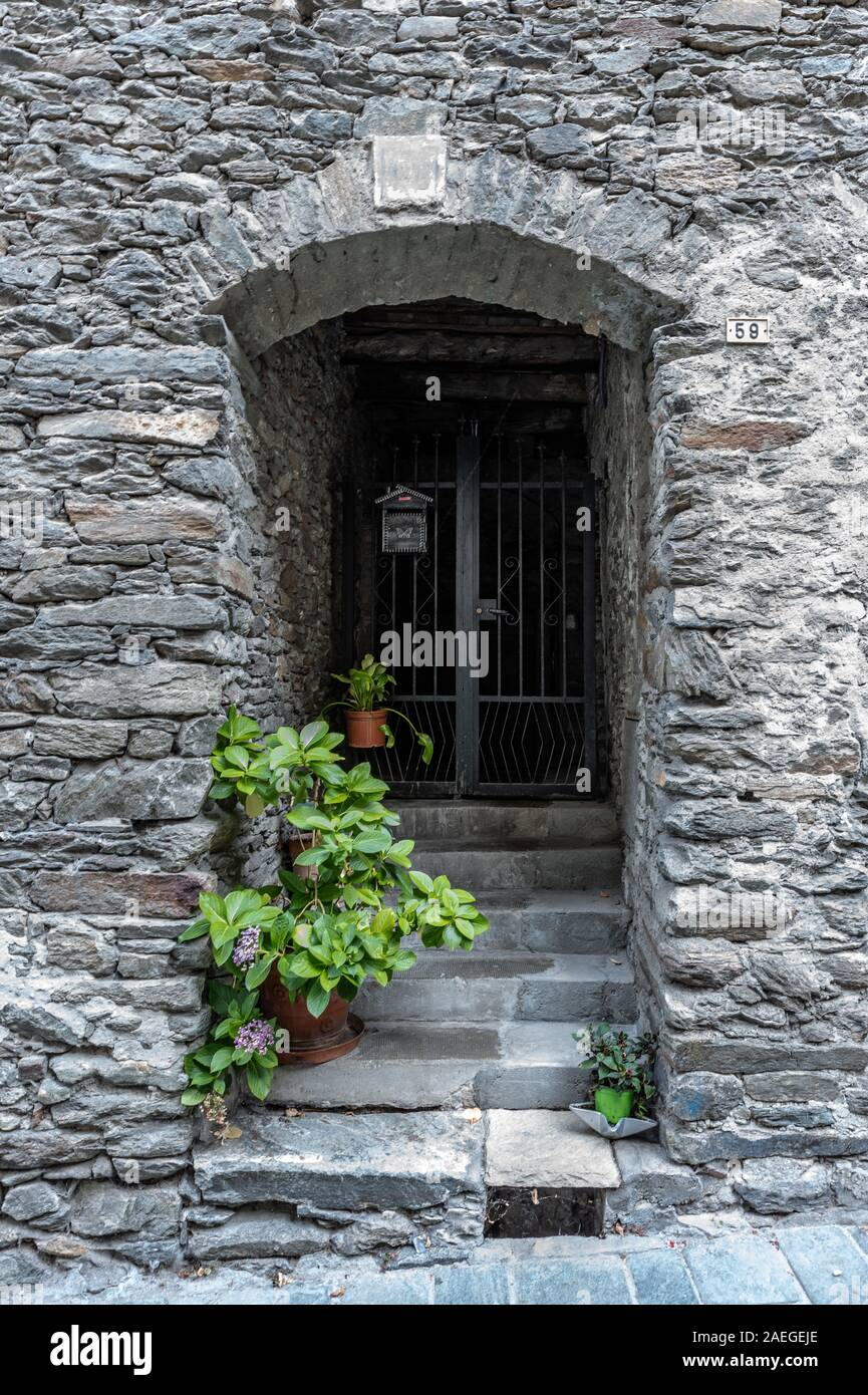 Image of a characteristic gate of an ancient village, vertical image Stock Photo