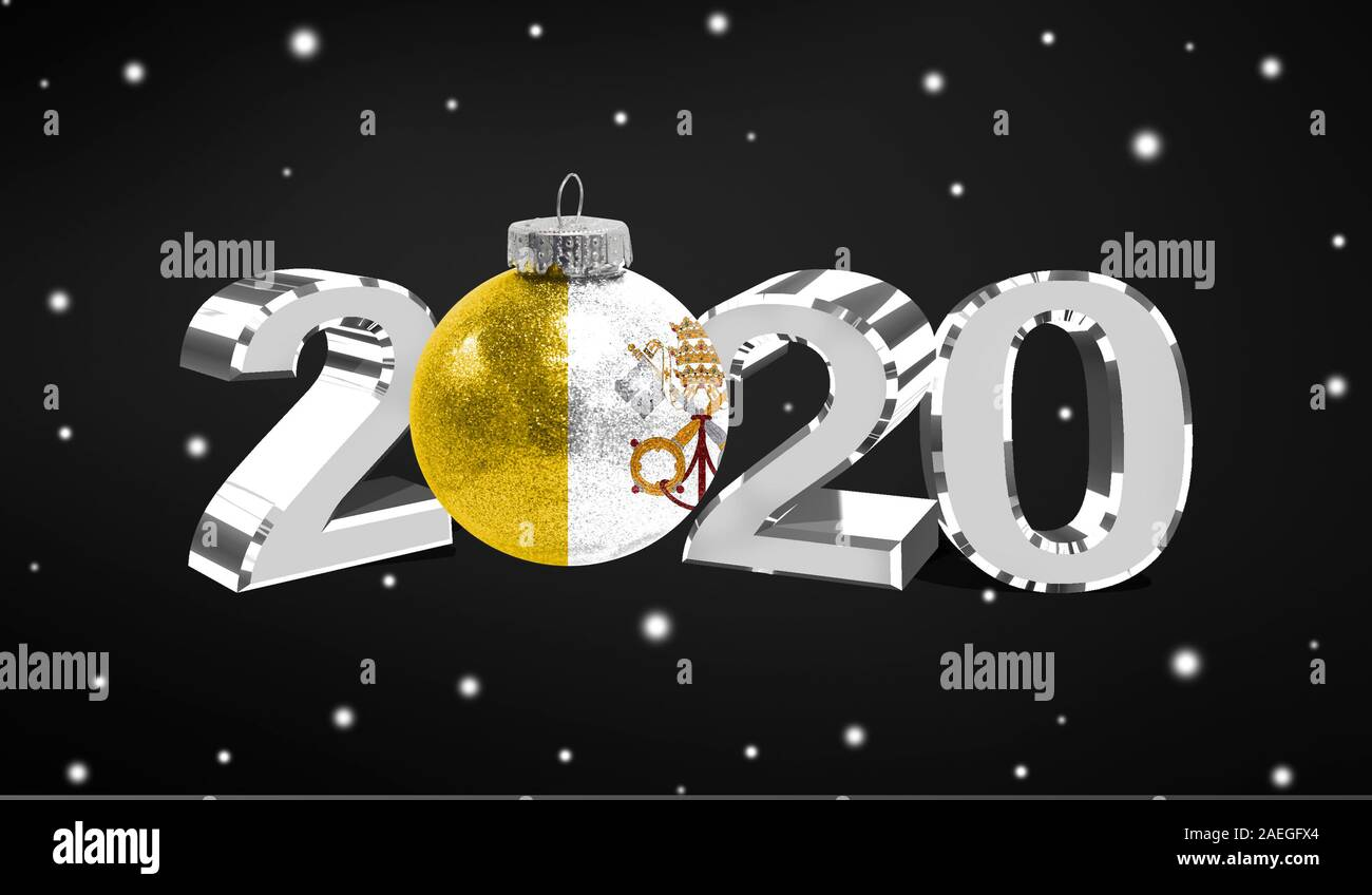 Christmas Vatican 2020 Happy new Year 2020, flag of Vatican city Holy see on a christmas
