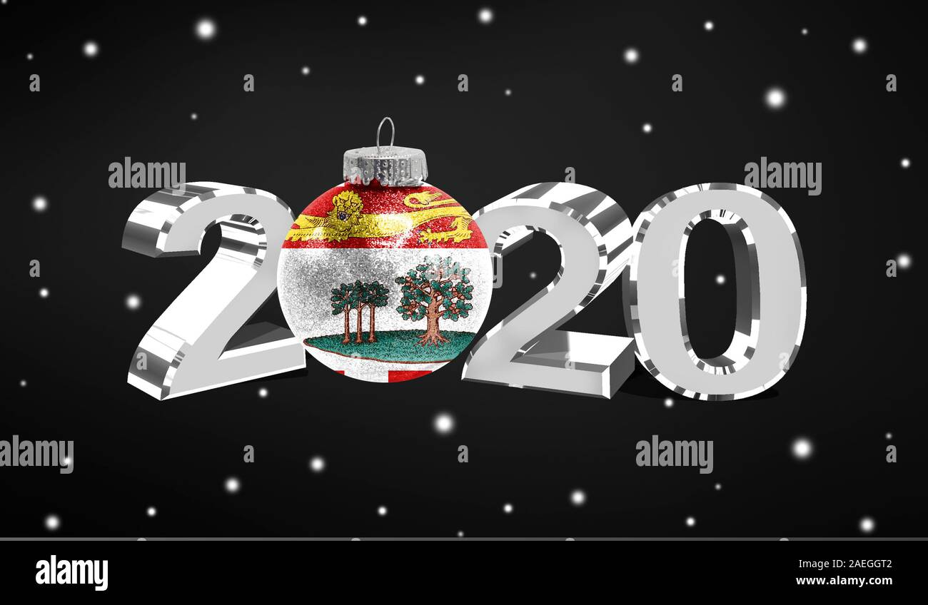 A Christmas Prince 2020 Happy new Year 2020, flag of Prince Edward Island on a christmas