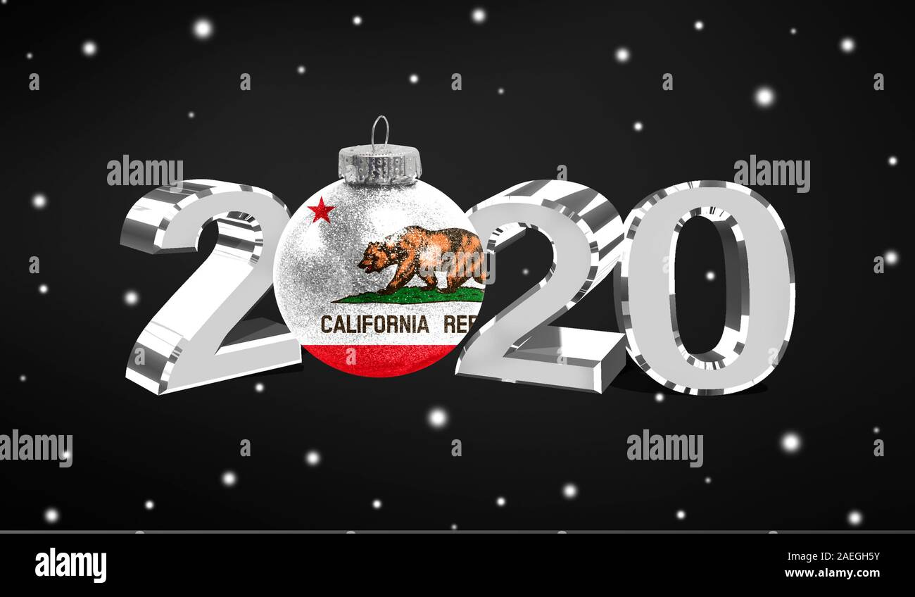 California Christmas 2020 Happy new Year 2020, flag State of California on a christmas toy