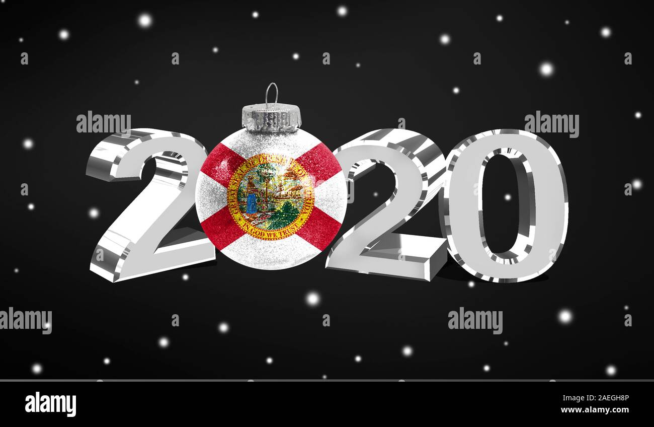 Christmas In Florida 2020 Happy new Year 2020, flag State of Florida on a christmas toy