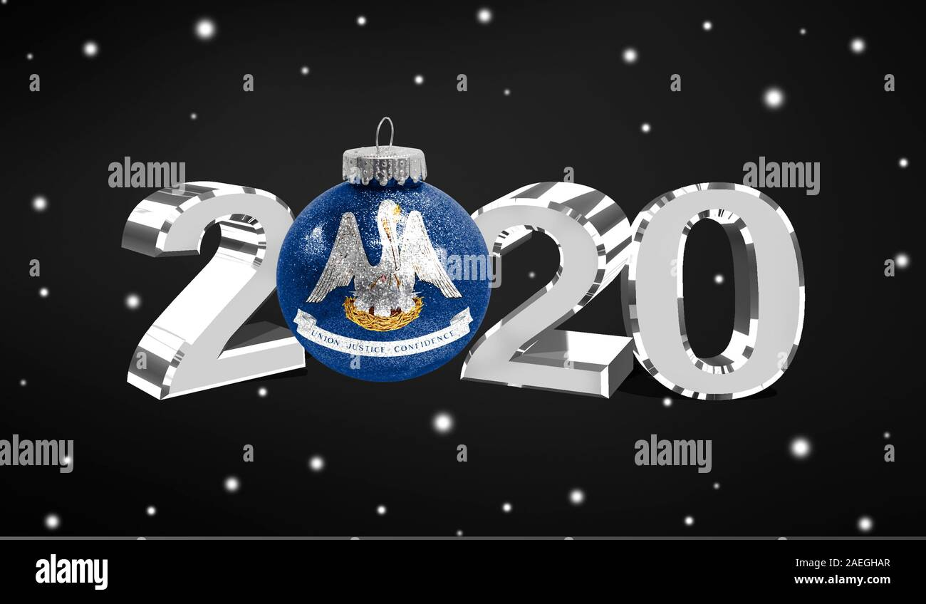Christmas In Louisiana 2020 Happy new Year 2020, flag State of Louisiana on a christmas toy