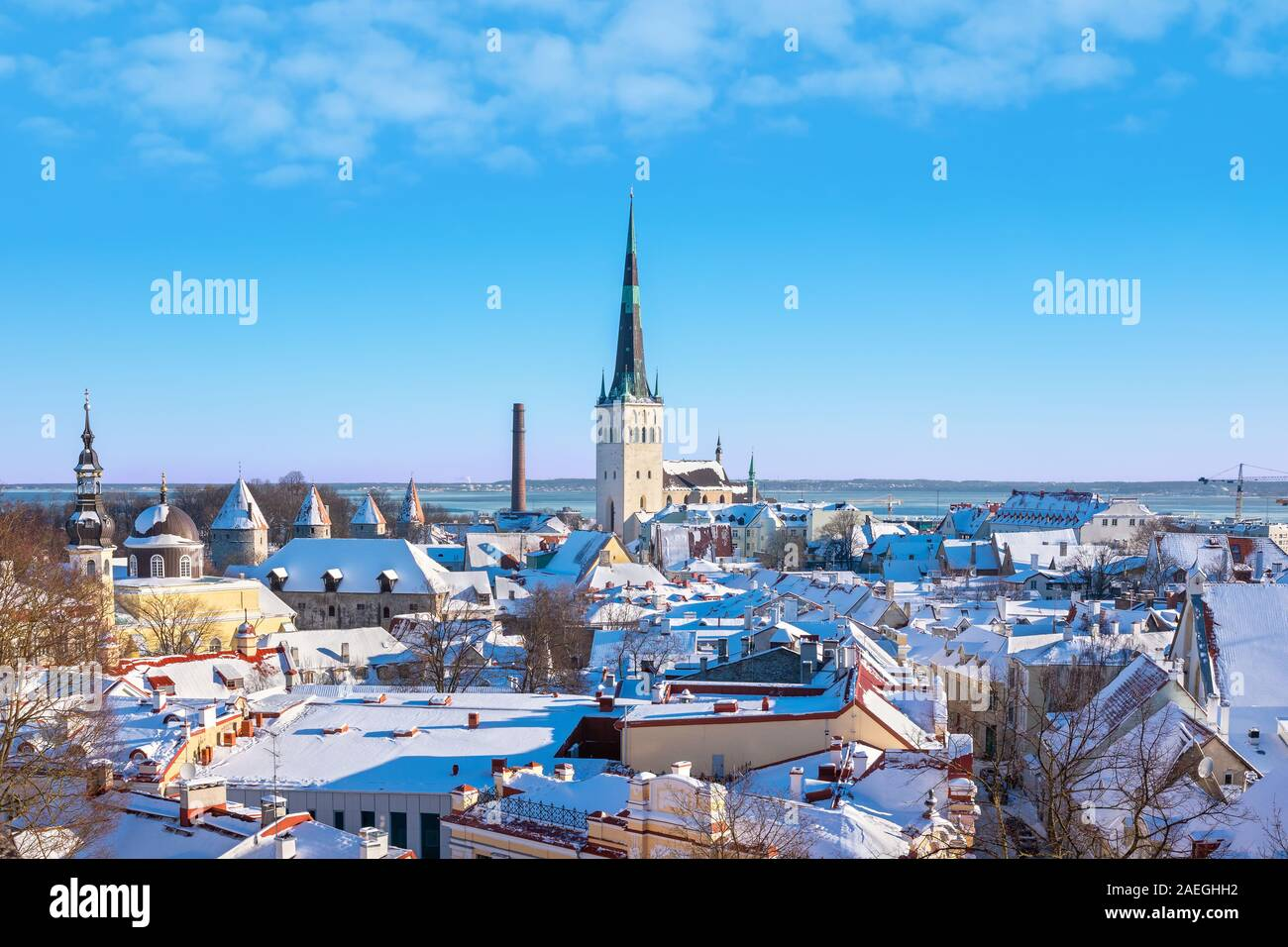 View to snow covered roofs of old town. Tallinn, Estonia Stock Photo