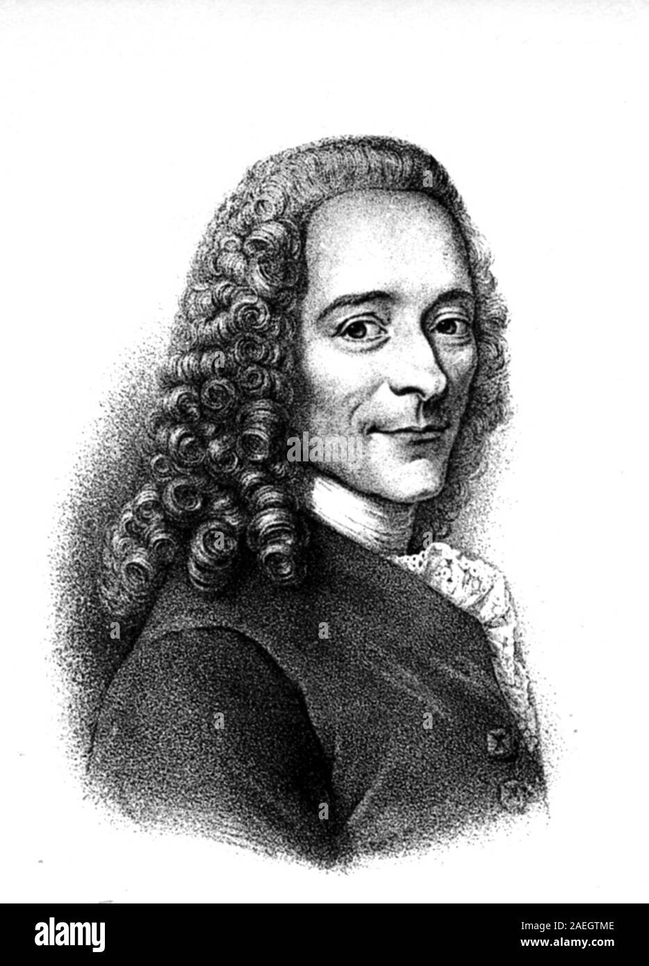 François-Marie Arouet, 21 November 1694 - 30 May 1778, known by his nom de plume Voltaire,s a French Enlightenment writer, historian, and philosopher. /  Voltaire, François-Marie Arouet, französischer Philosoph und Schriftsteller., Digital reproduction of an original print from the 19th century Stock Photo