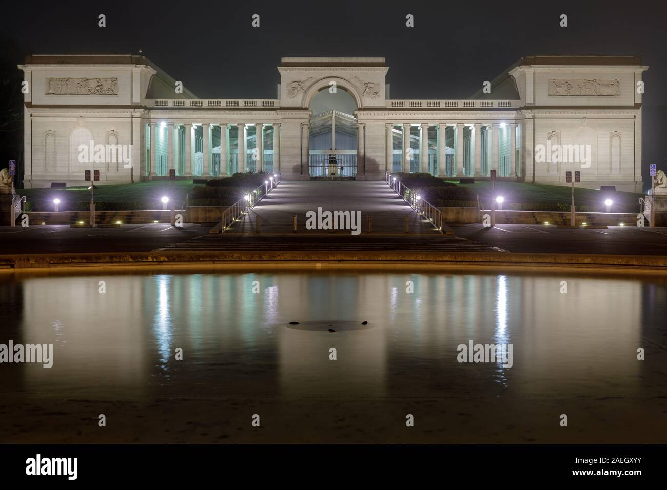Façade, stairways and fountain of the Legion of Honor at night Stock Photo