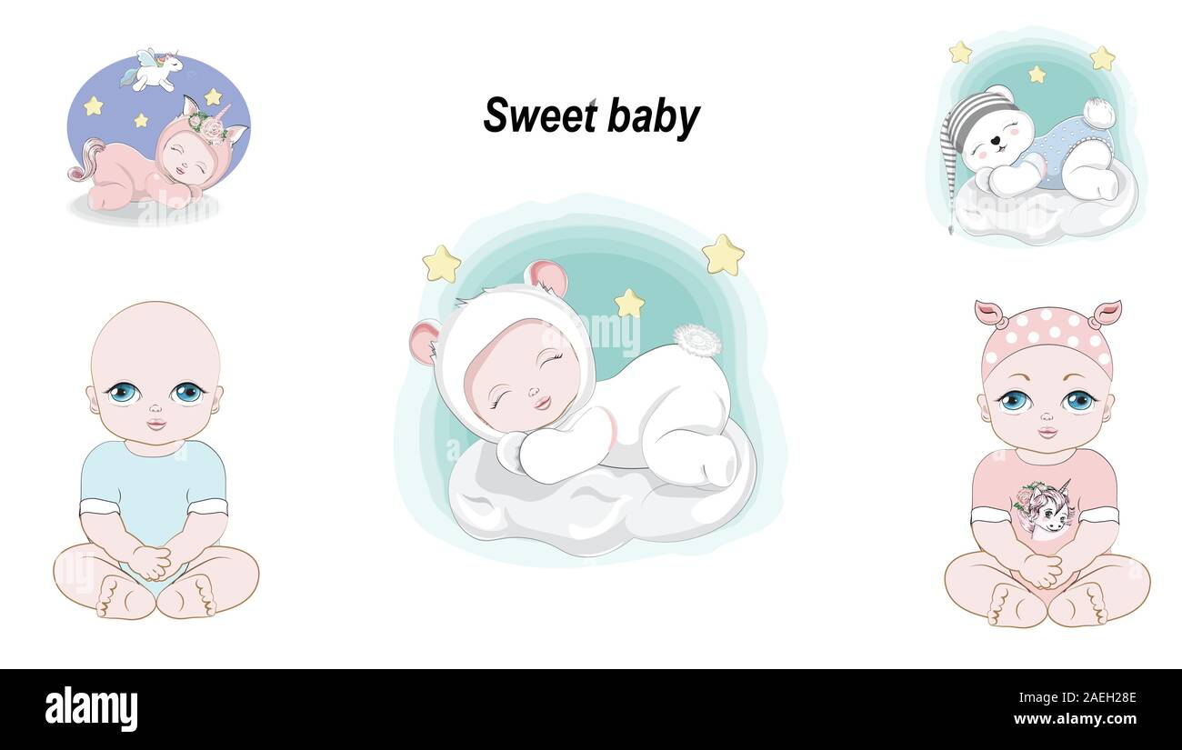 Cute Baby Girl And Boy Newborn Set Stickers Collection Picture In Hand Drawing Cartoon Style For T Shirt Wear Fashion Print Design Greeting Card Stock Vector Image Art Alamy