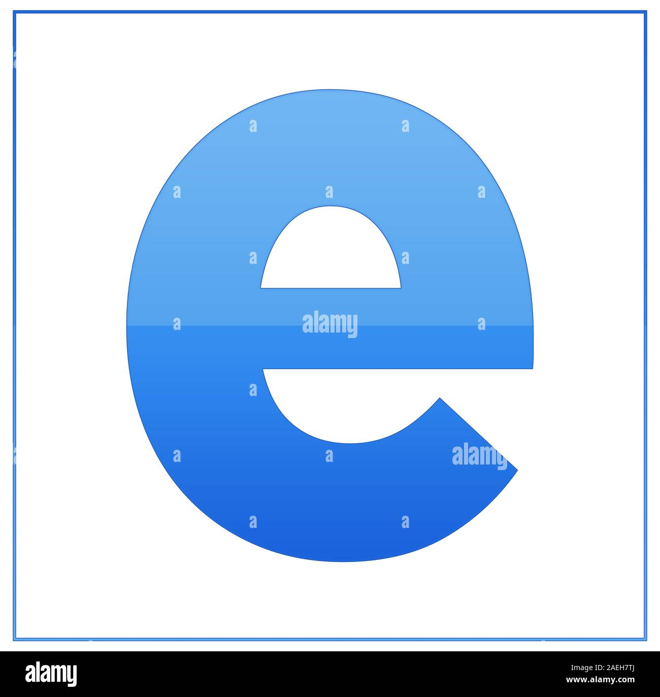 The Letter E Made Light Blue And Dark Blue Half And Half Same Colors Turn Upside Down And Used In Frame On White Background Stock Photo Alamy