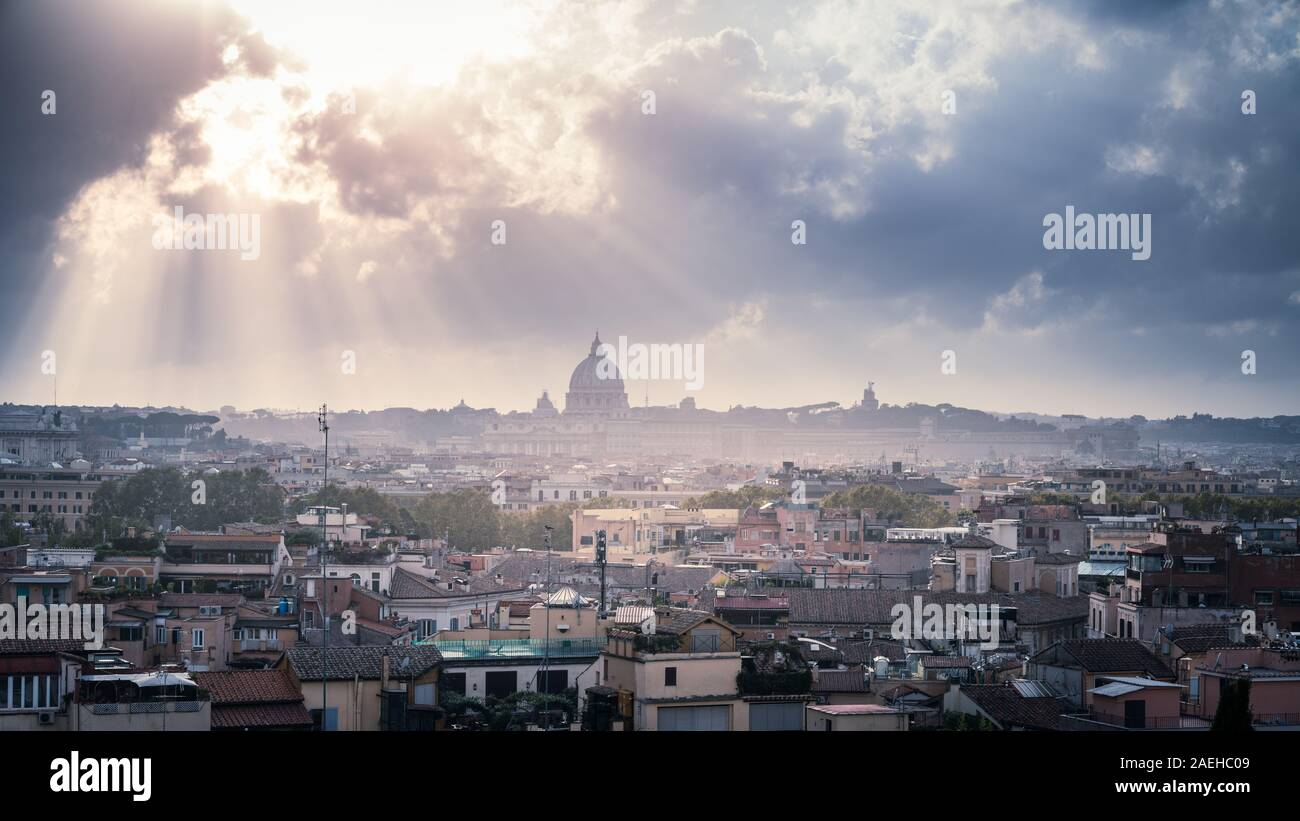 View Of Rome Skyline And St Peters Catherdal From Terrazza