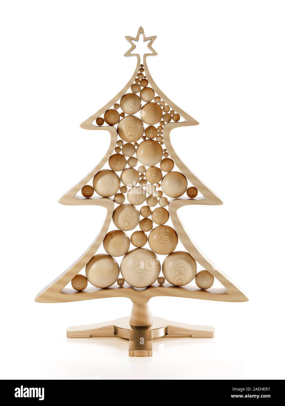 3d Render Of Wooden Christmas Tree With Balls On Stand Over White Background Stock Photo Alamy