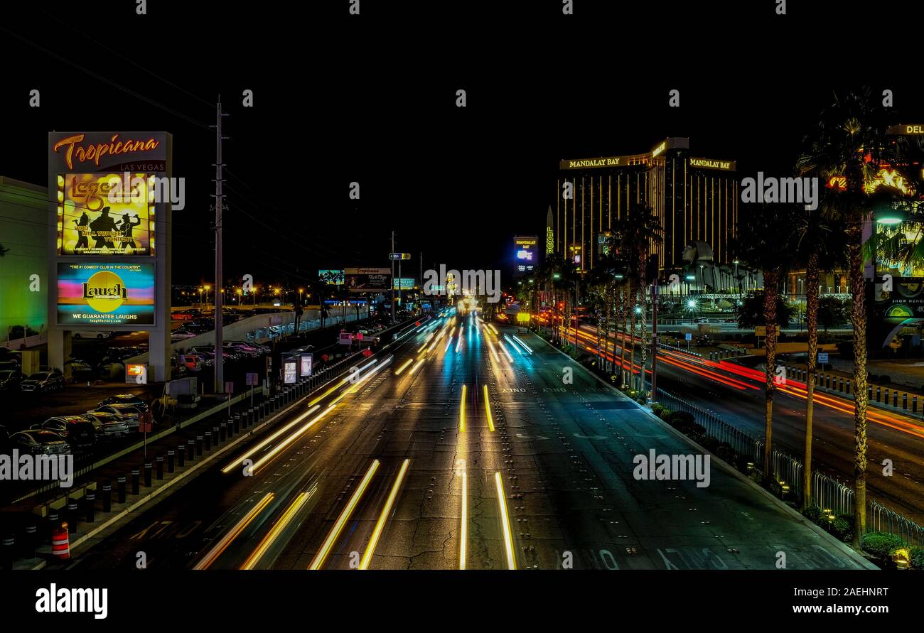 Long exposure shot of the Las Vegas strip at night, Las Vegas, Nevada. Stock Photo