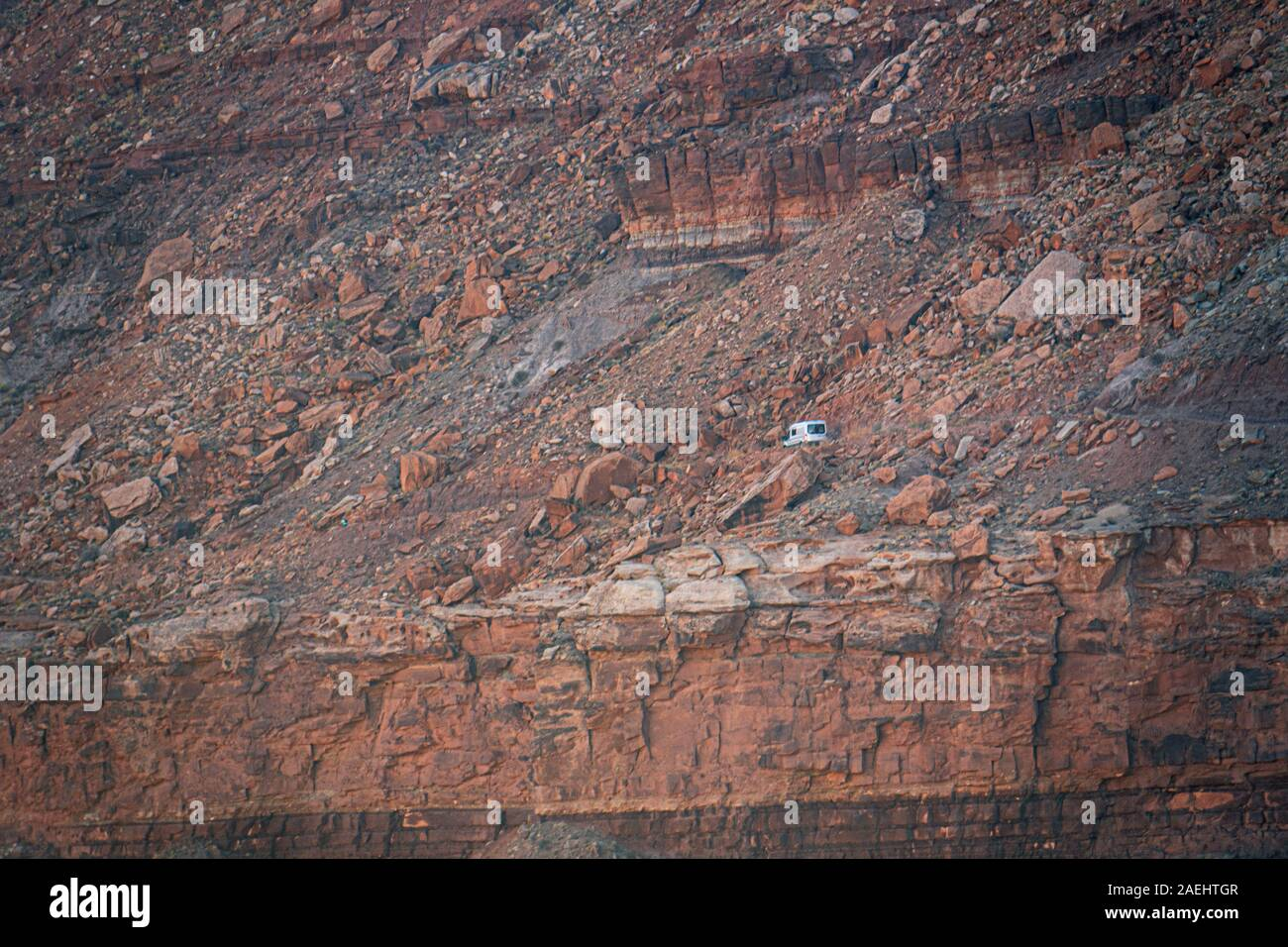 A van on the White Rim Trail, Canyonlands National Park Stock Photo
