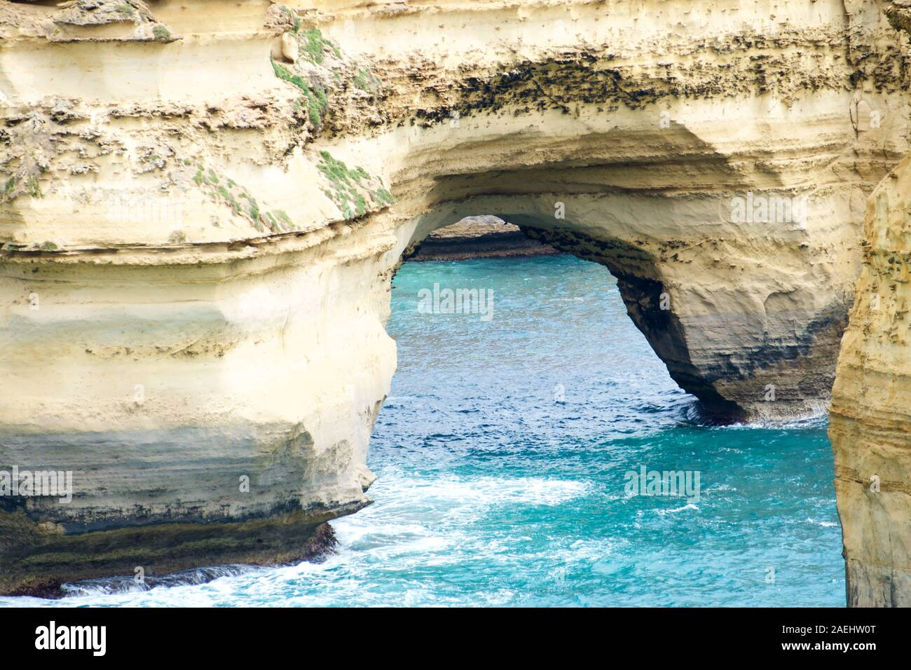 Island Arch. Scenic lookout in The Great Ocean Road, an iconic Australian destination. Stock Photo