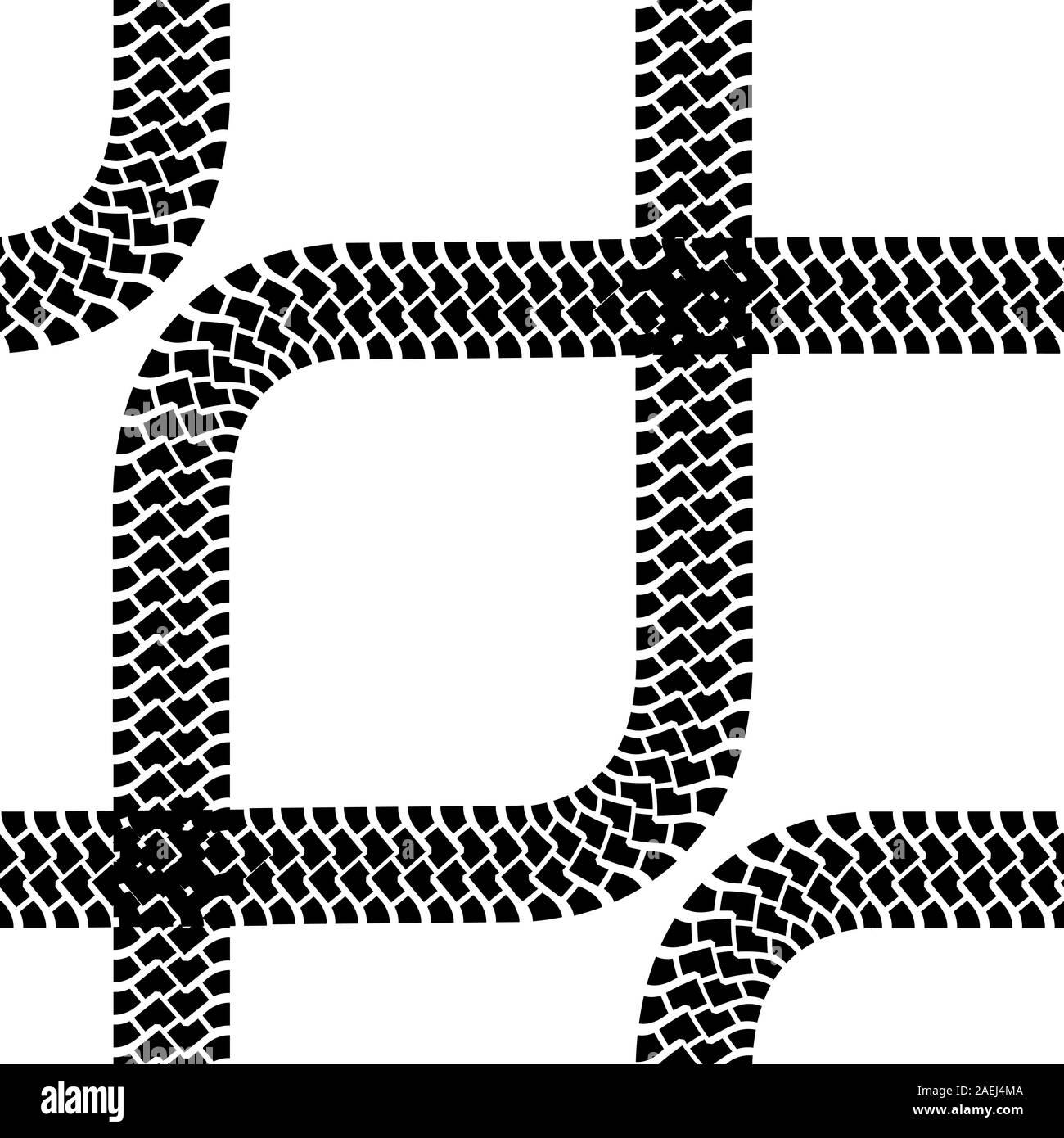 Seamless wallpaper tire tracks pattern illustration vector background Stock Vector