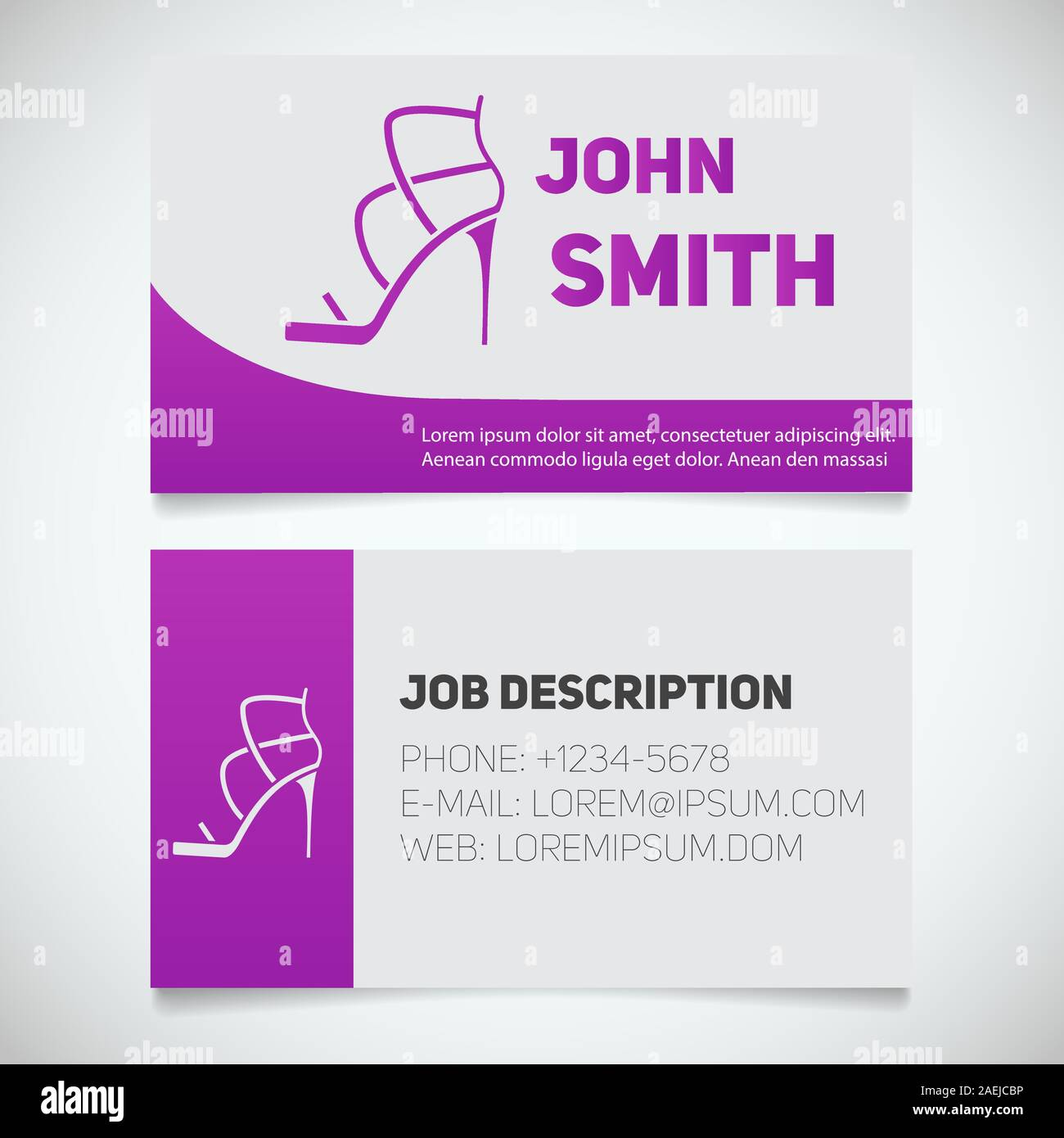 Business card print template with high heel shoe logo. Manager Intended For High Heel Template For Cards