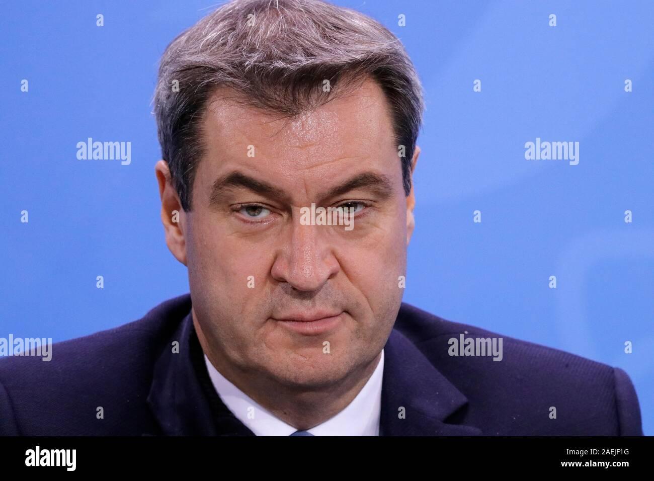 Markus Soeder - Pressekonferenz nach Treffen der dt. Bundeskanzlerin mit den Regierungschefs der Laender, Bundeskanzleramt, 5. Dezember 2019, Berlin ( Stock Photo