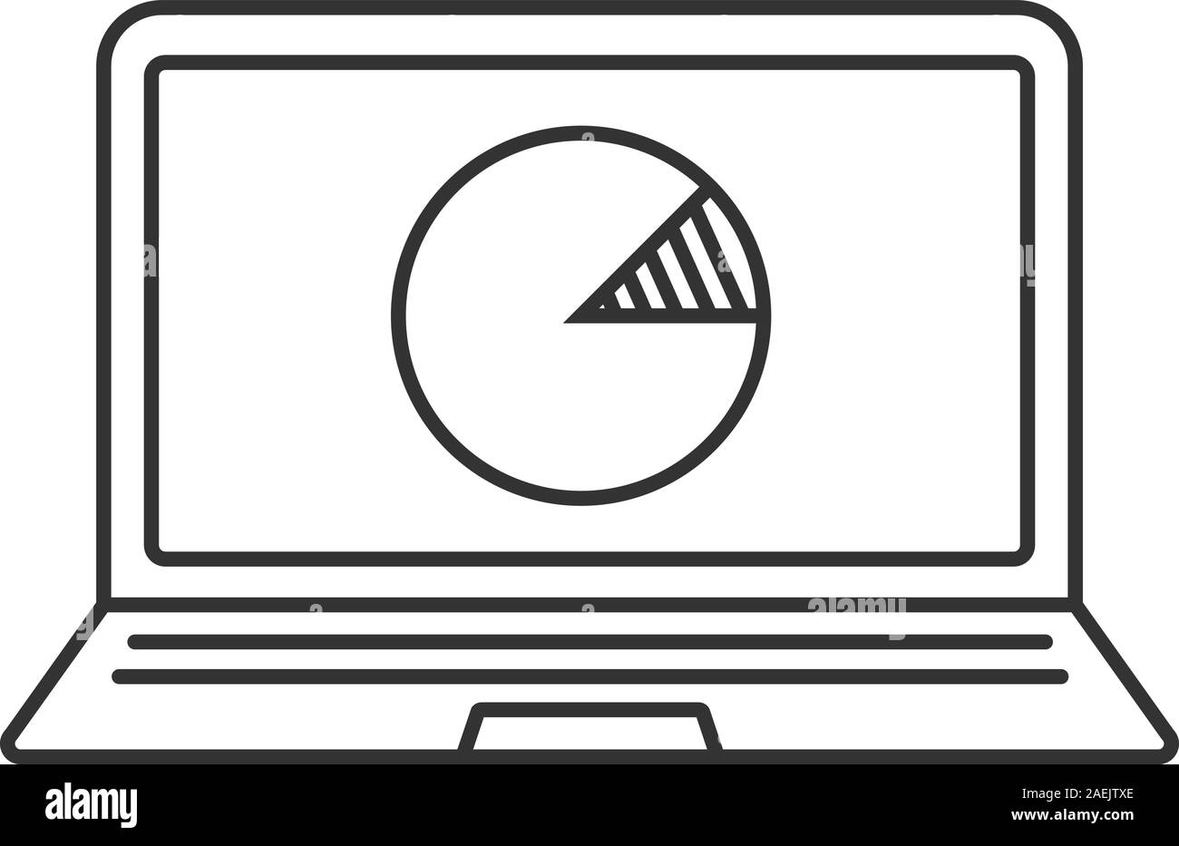 laptop statistics linear icon. thin line illustration. laptop with diagram  contour symbol. vector isolated outline drawing stock vector image & art -  alamy  alamy