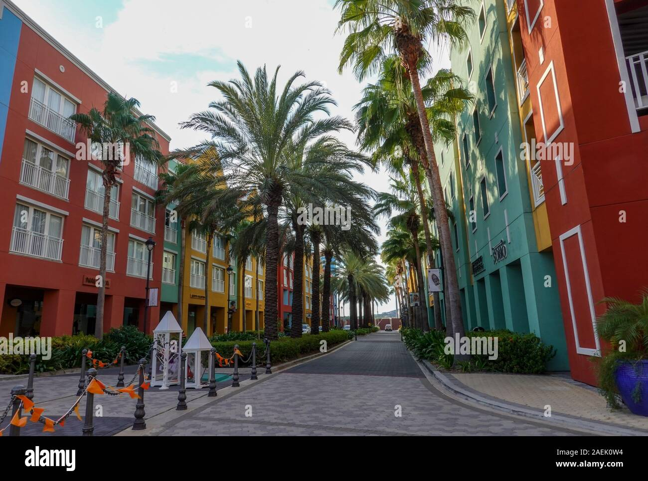 Curacao-11/3/19: The shopping district with its colonial architecture on Curacao island. Stock Photo