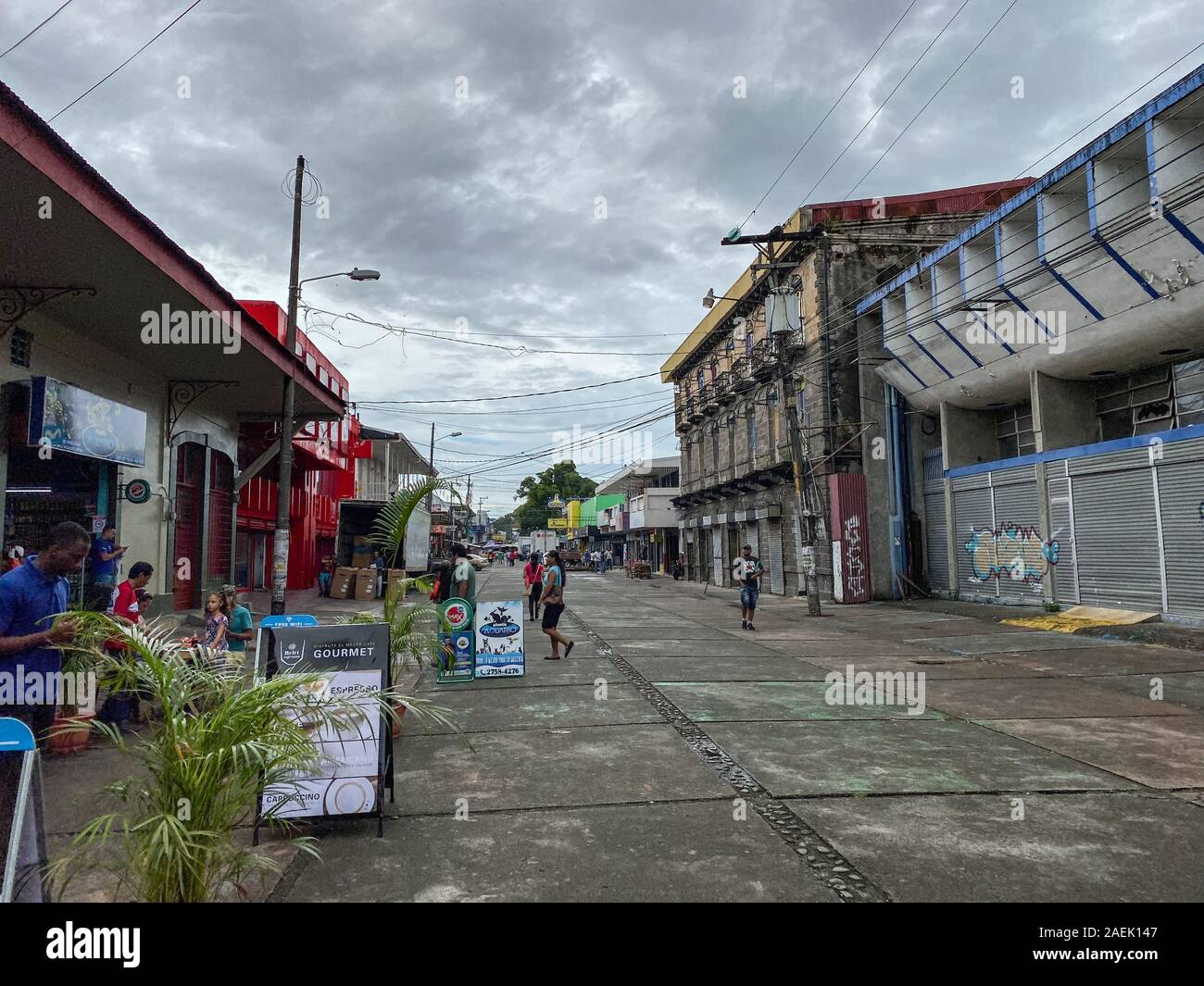 Puerto Limon Costa Rica 11 7 19 A Typical Street In The Cruise Ship Port Of Puerto Limon Costa Rica Stock Photo Alamy