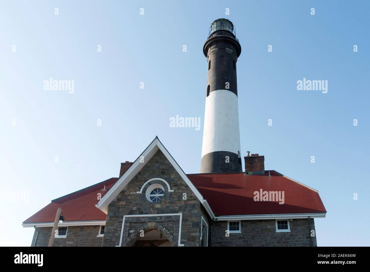 Looking up at the front of the Fire Island Lighthouse Stock Photo