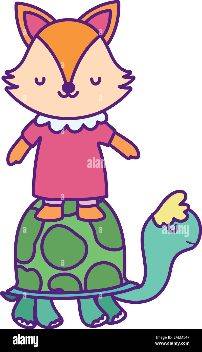 Baby Shower Cute Little Turtle And Fox With Dress Cartoon Vector