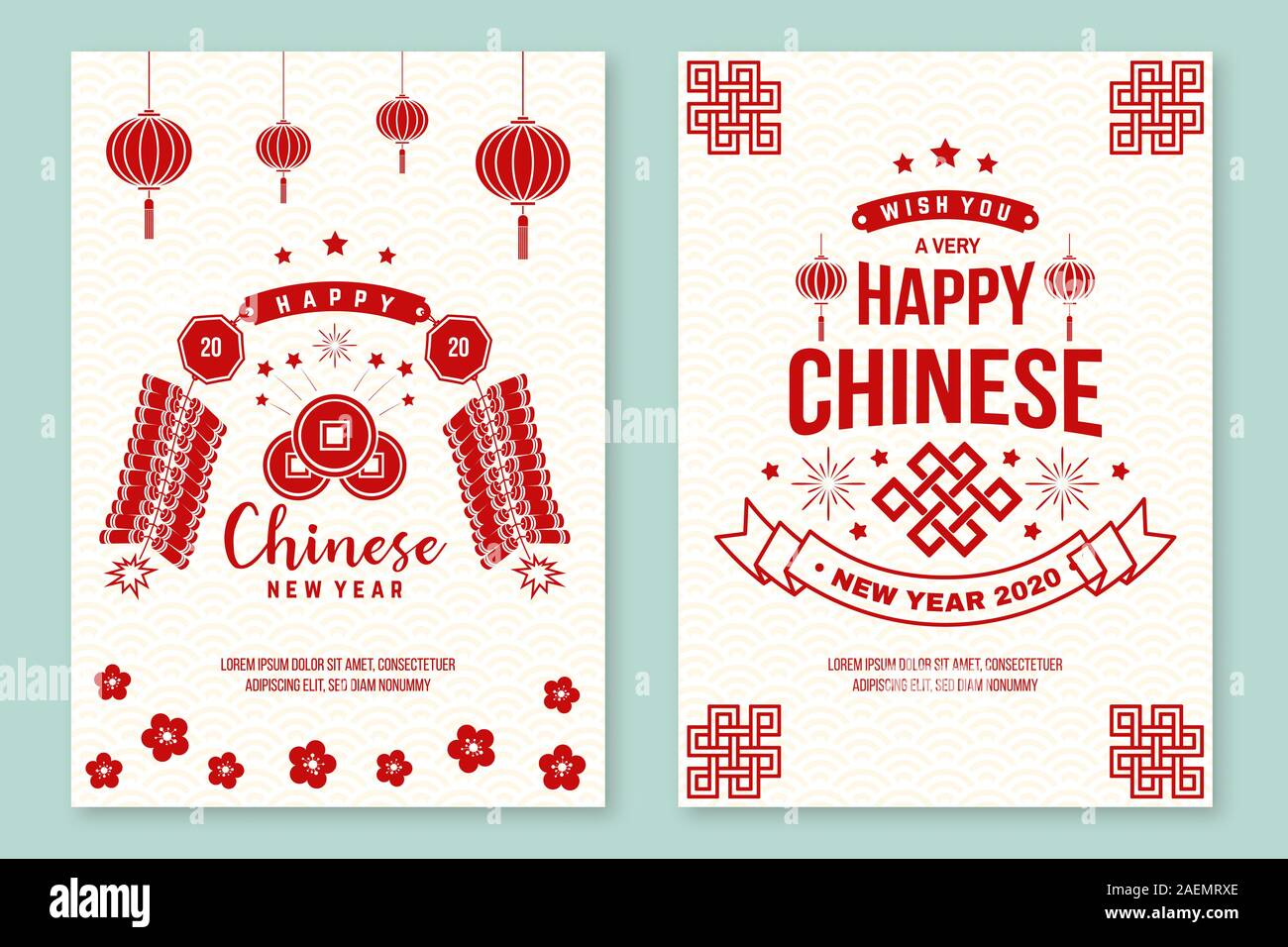 Set Of Happy Chinese New Year 2020 Poster Flyer Greeting Cards New Year Felicitation Classic Postcard Chinese Sign Year Of Rat Greeting Card Banner For Website Template Vector Stock Vector Image