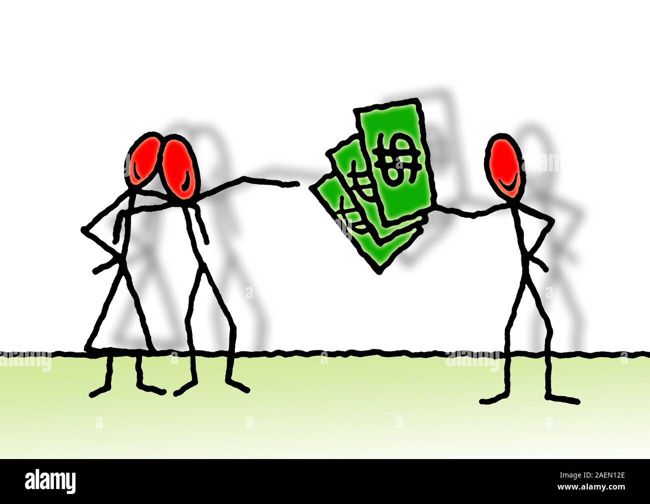 Loan of money between private individuals - concept image with illustration drawn by freehand Stock Photo