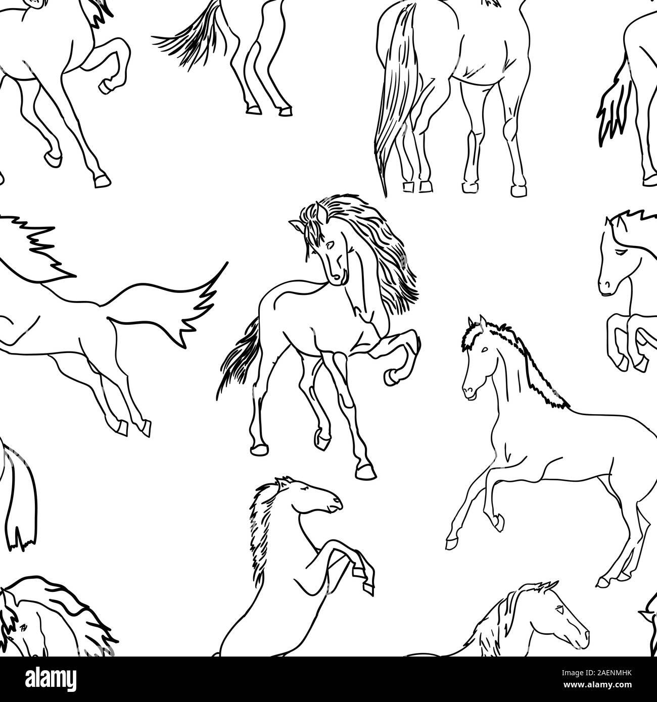 Seamless Wallpaper Horses Vector Illustration Stock Vector Image Art Alamy